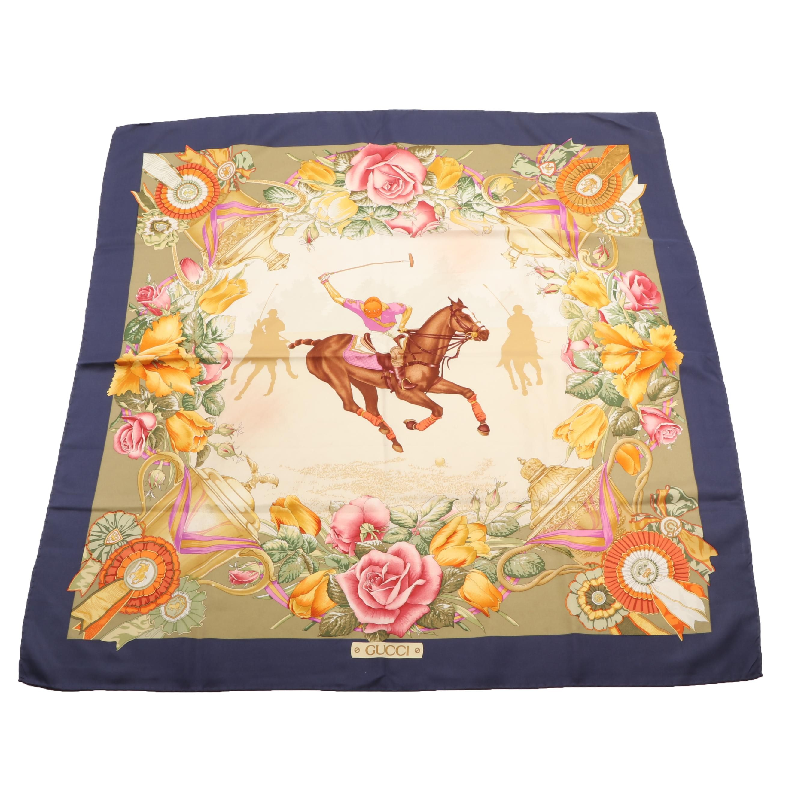 Gucci Polo and Floral Print Silk Scarf, Made in Italy