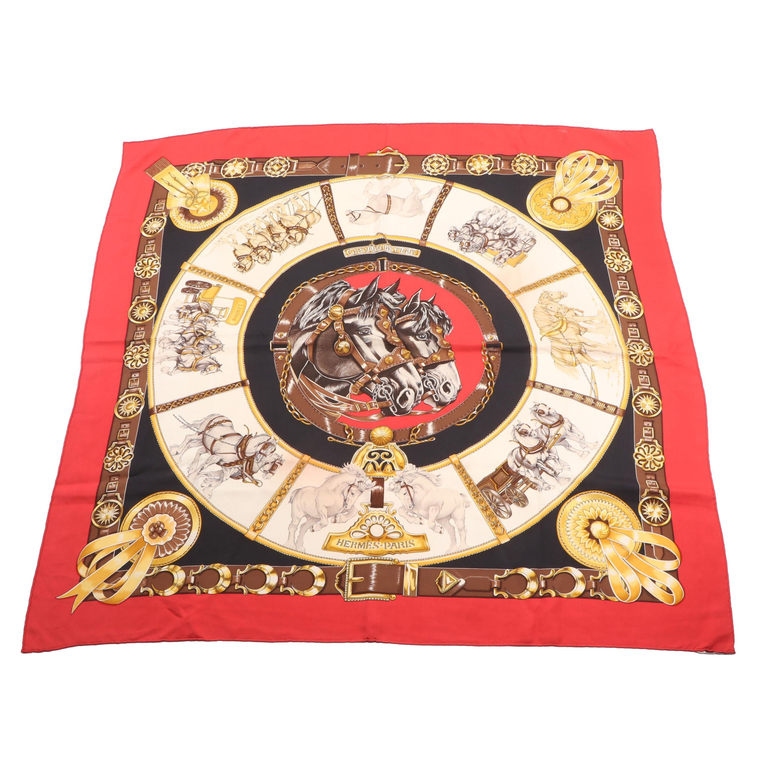 "Hermès of Paris ""Chevaux de Trait"" Silk Scarf by Laurence ""Toutsy"" Bourthoum"