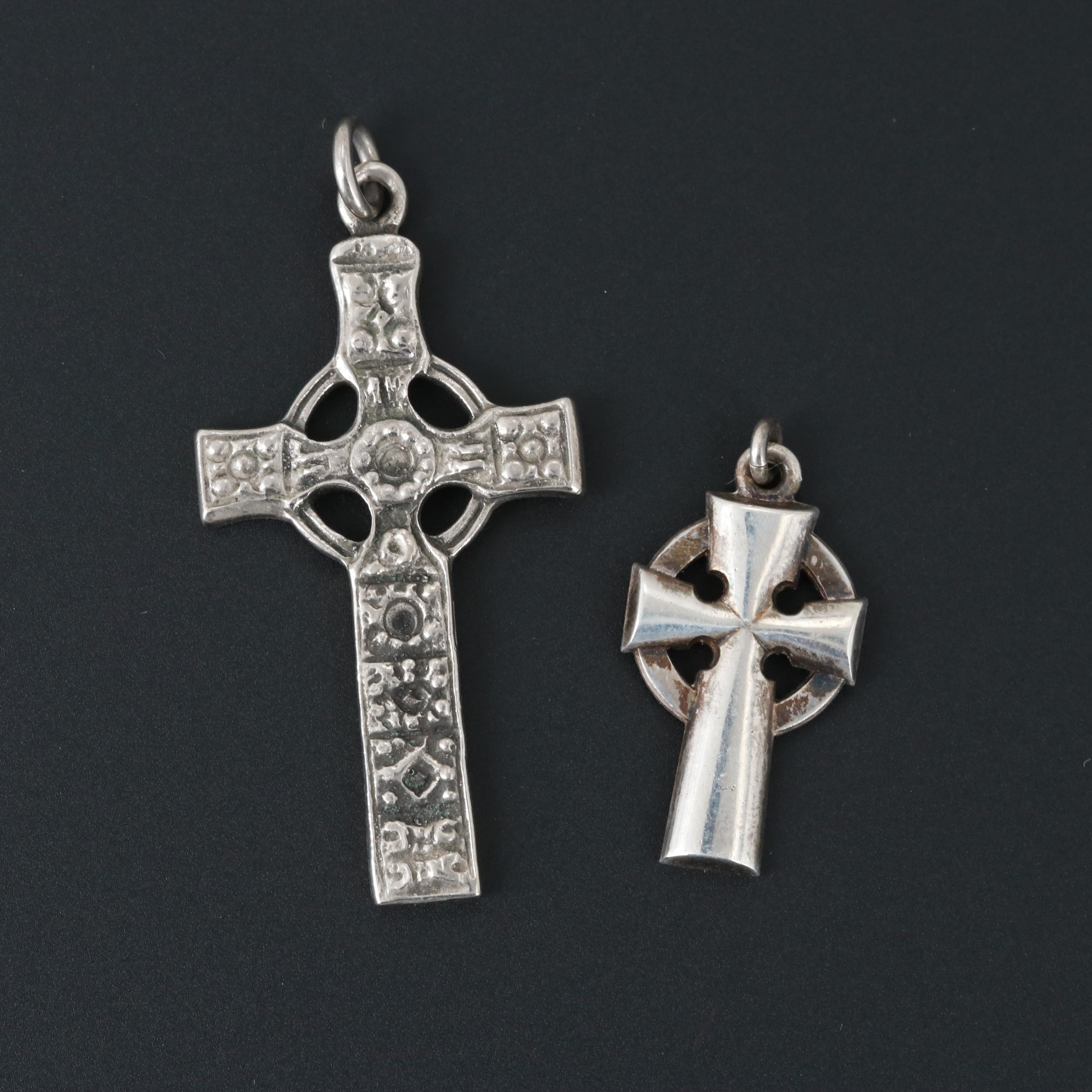 Vintage Sterling Silver and Silver Tone Celtic Cross Pendants
