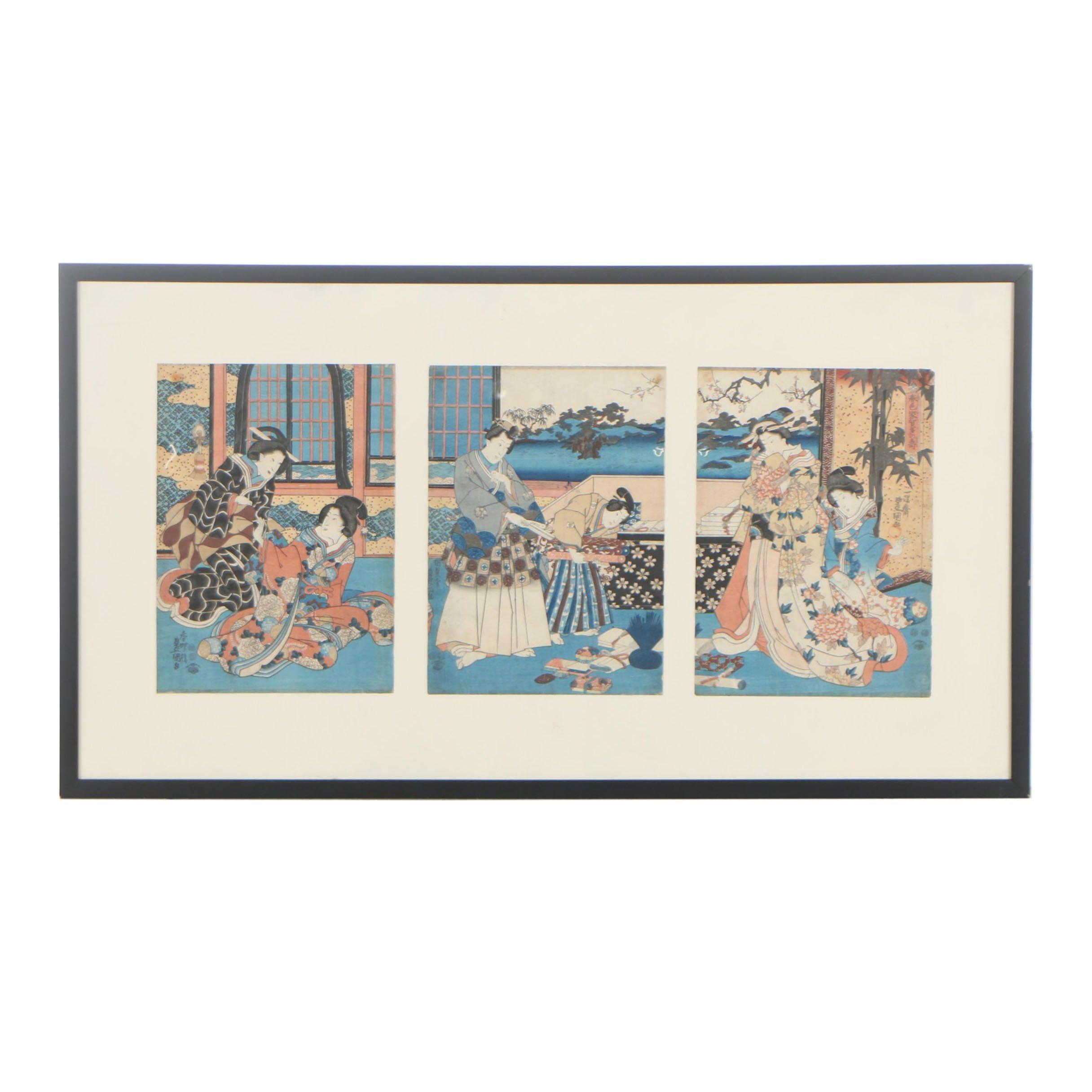 Utagawa Kunisada Woodblock Print Triptych