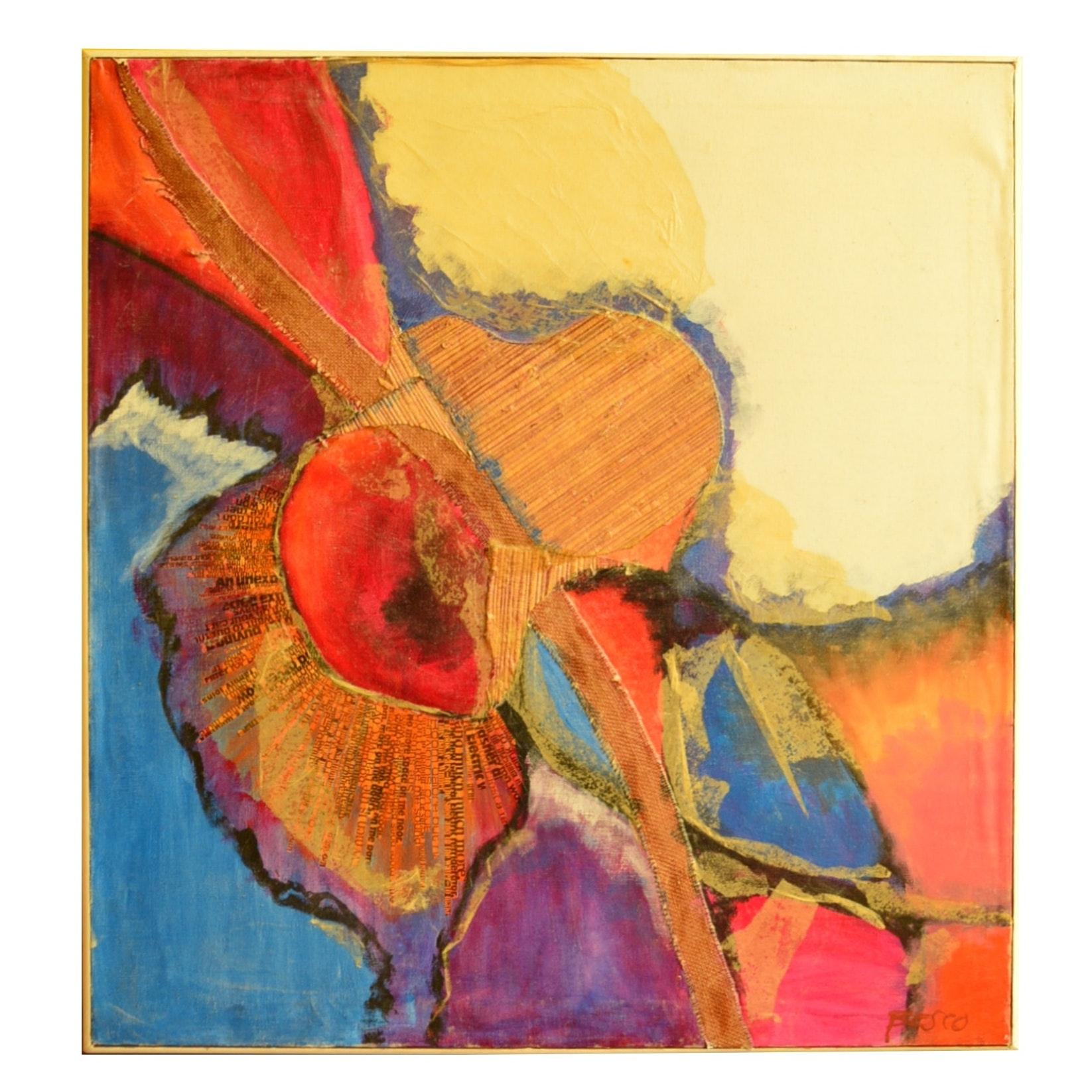 Besco Multi Media Collage Oil on Canvas