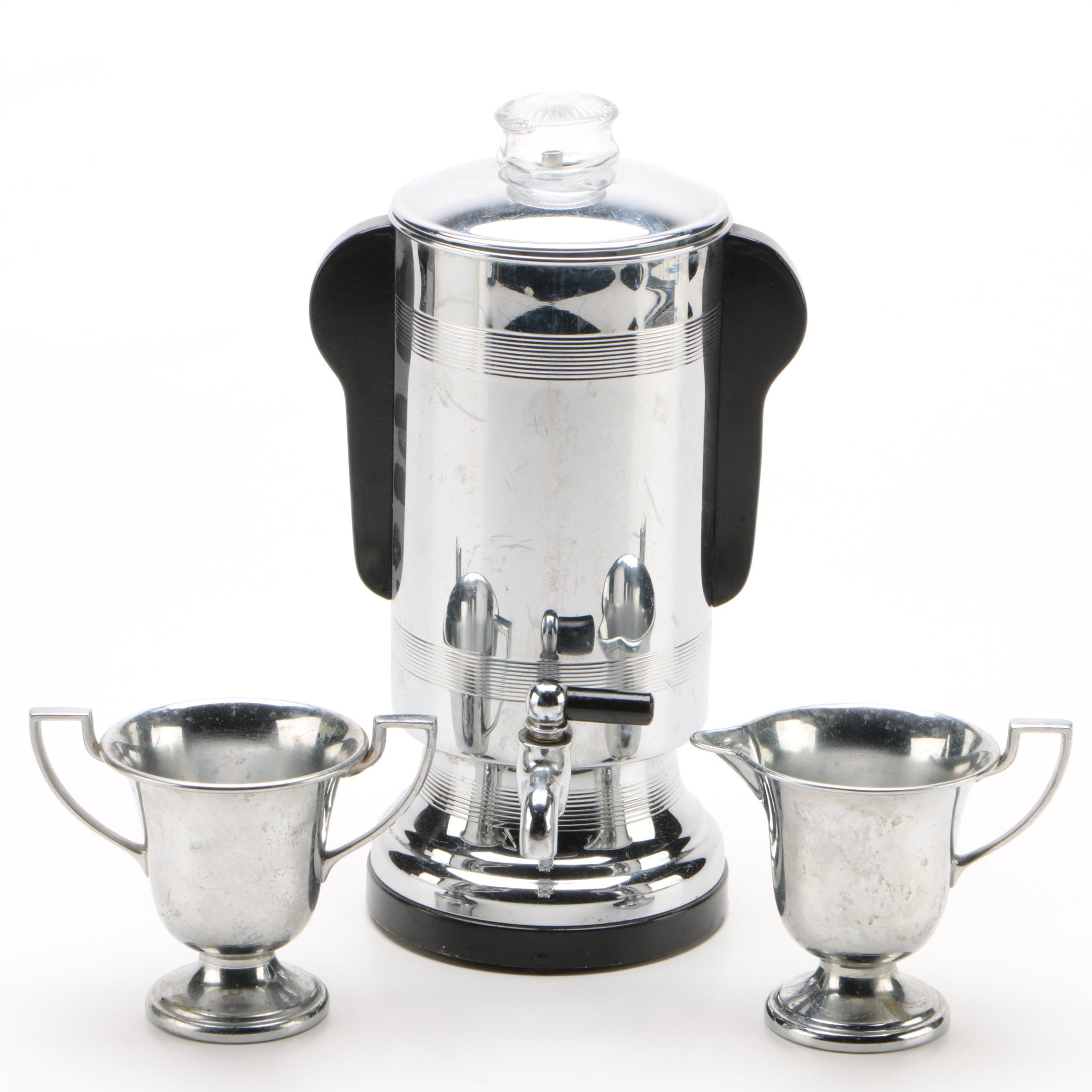 Manning, Bowman & Co Coffee Percolator with Faberware Creamer and Sugar
