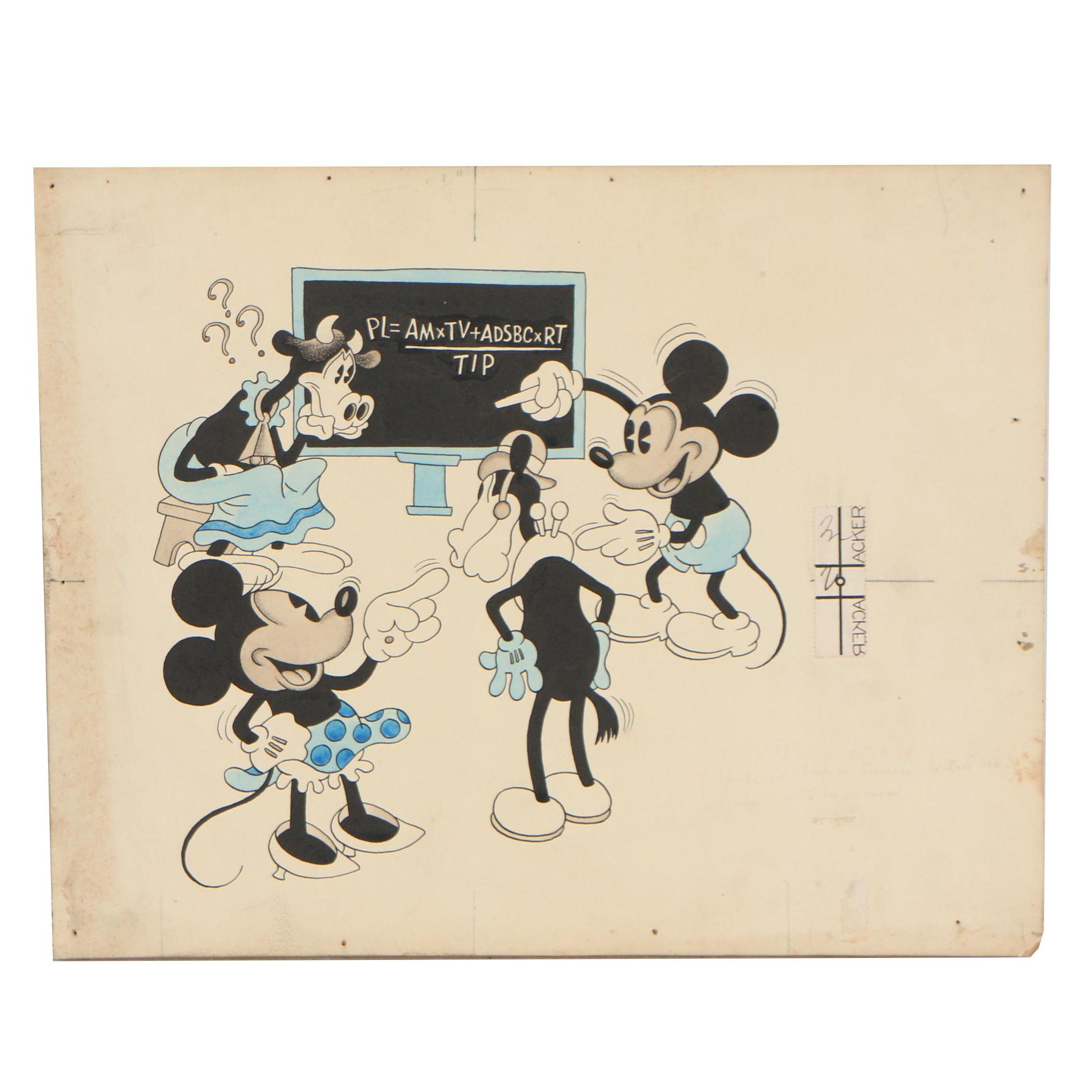 "Walt Disney Studios Ink Illustration for Redbook ""Mickey Mouse on Inflation"""