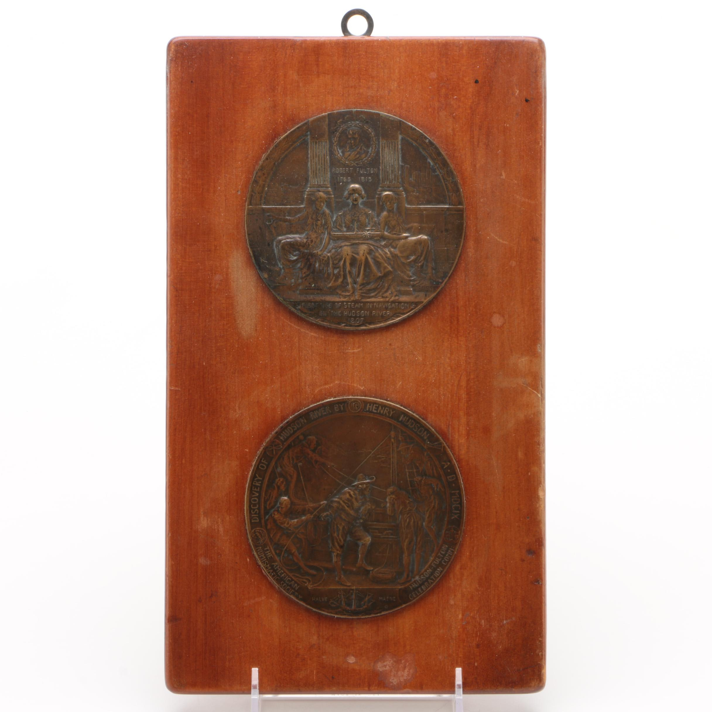 Mounted Hudson-Fulton Celebration Bronze Medals by Emil Fuchs, 1909