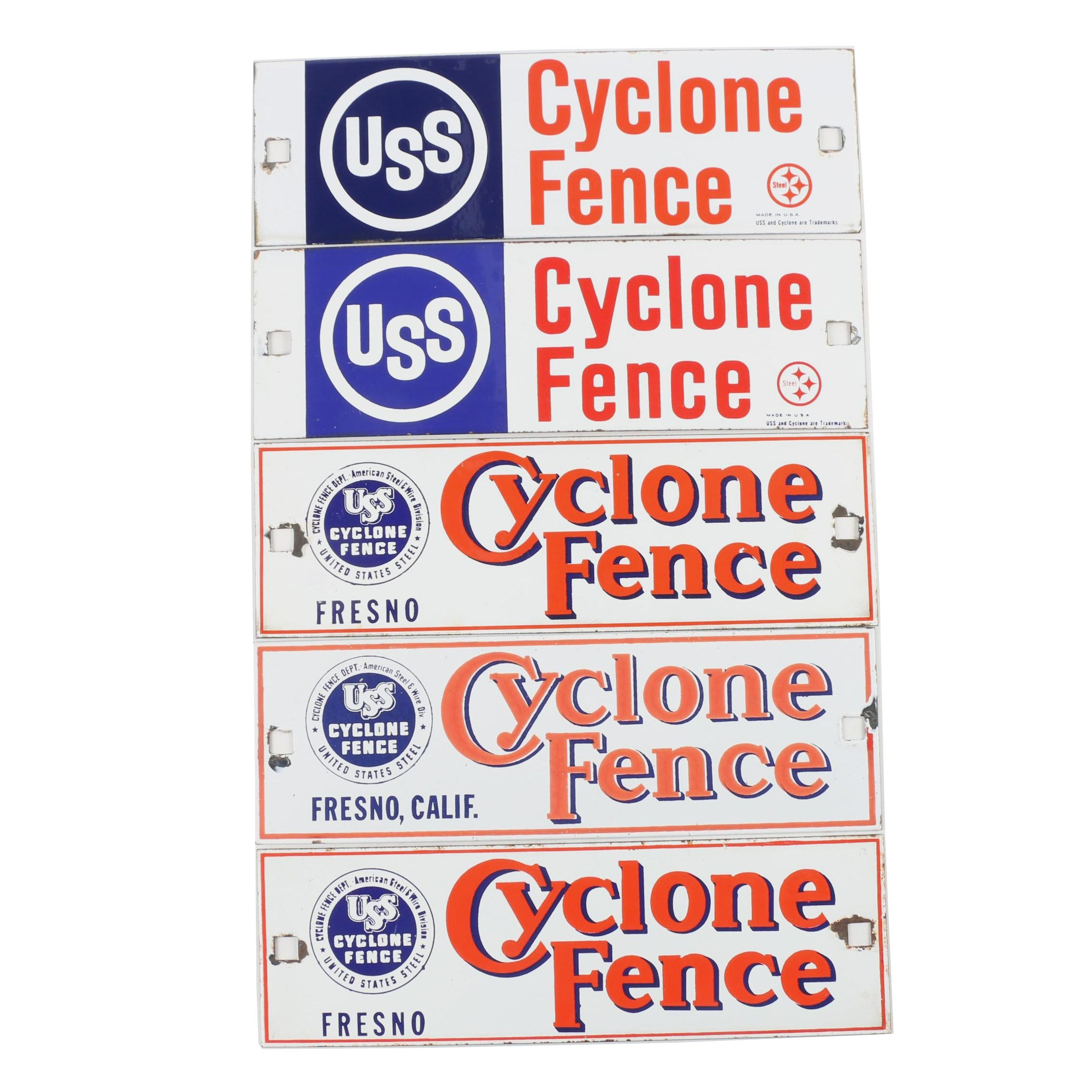 Cyclone Fence Enameled Steel Signs, 20th Century