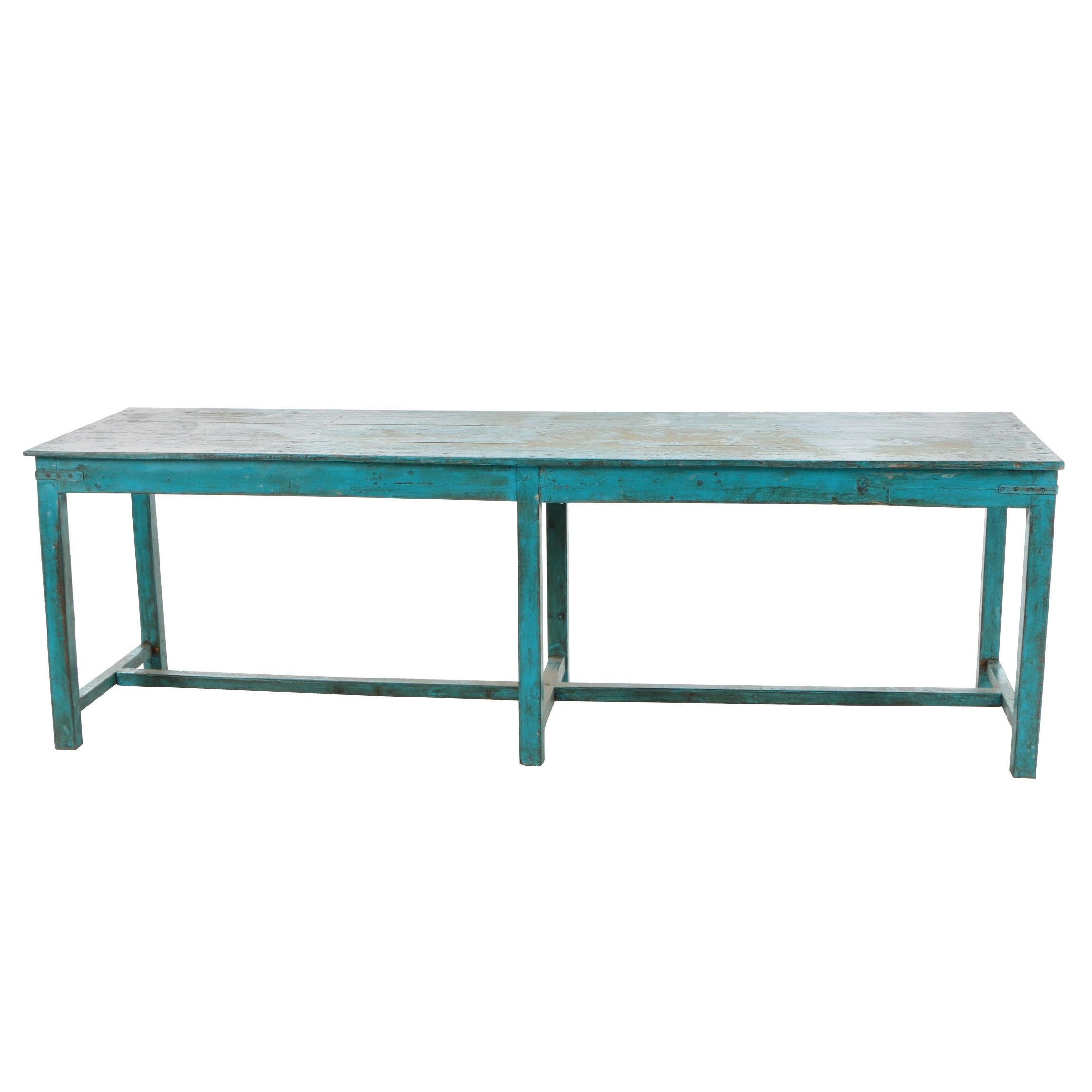 Industrial Style Indian Painted Hardwood Harvest Table