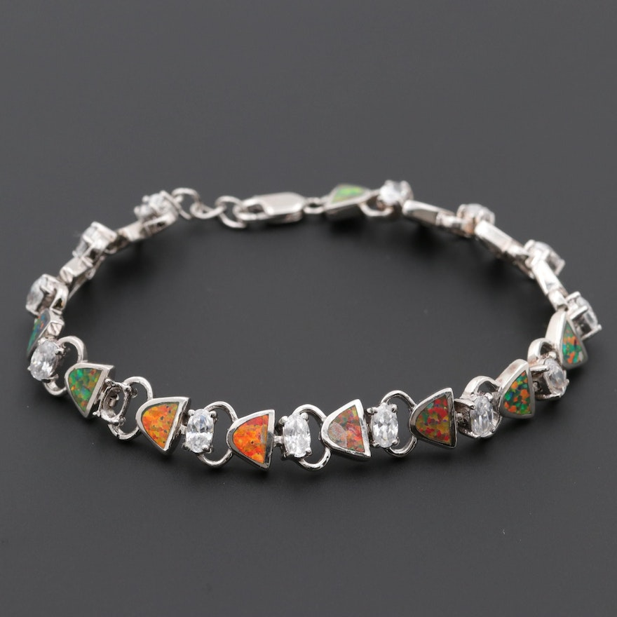d60ddc663 Sterling Silver Synthetic Opal and Cubic Zirconia Bracelet : EBTH