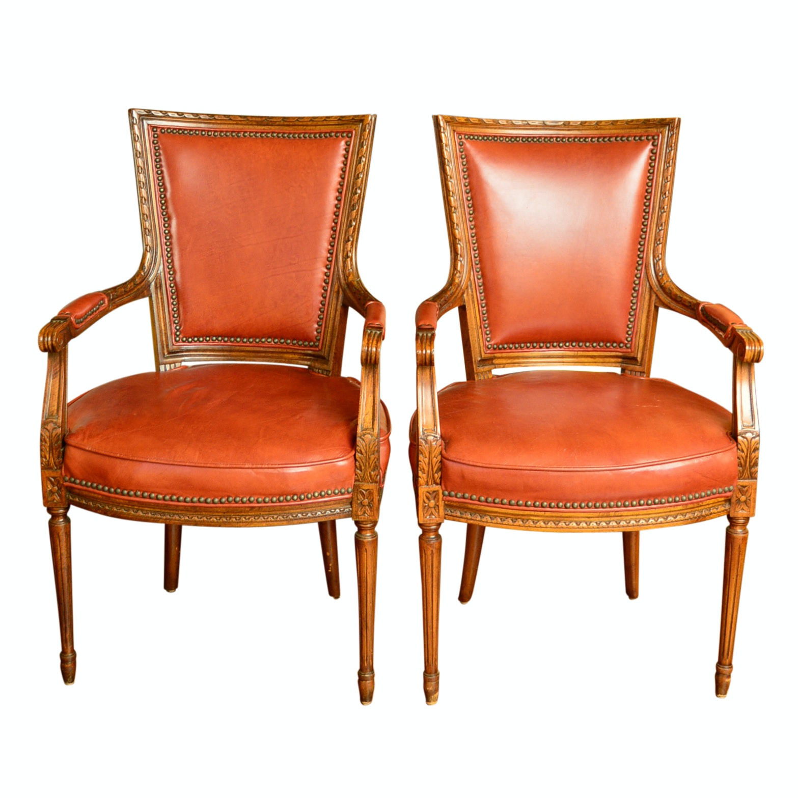 Pair of Vintage Louis XVI Style Leather-Upholstered Armchairs