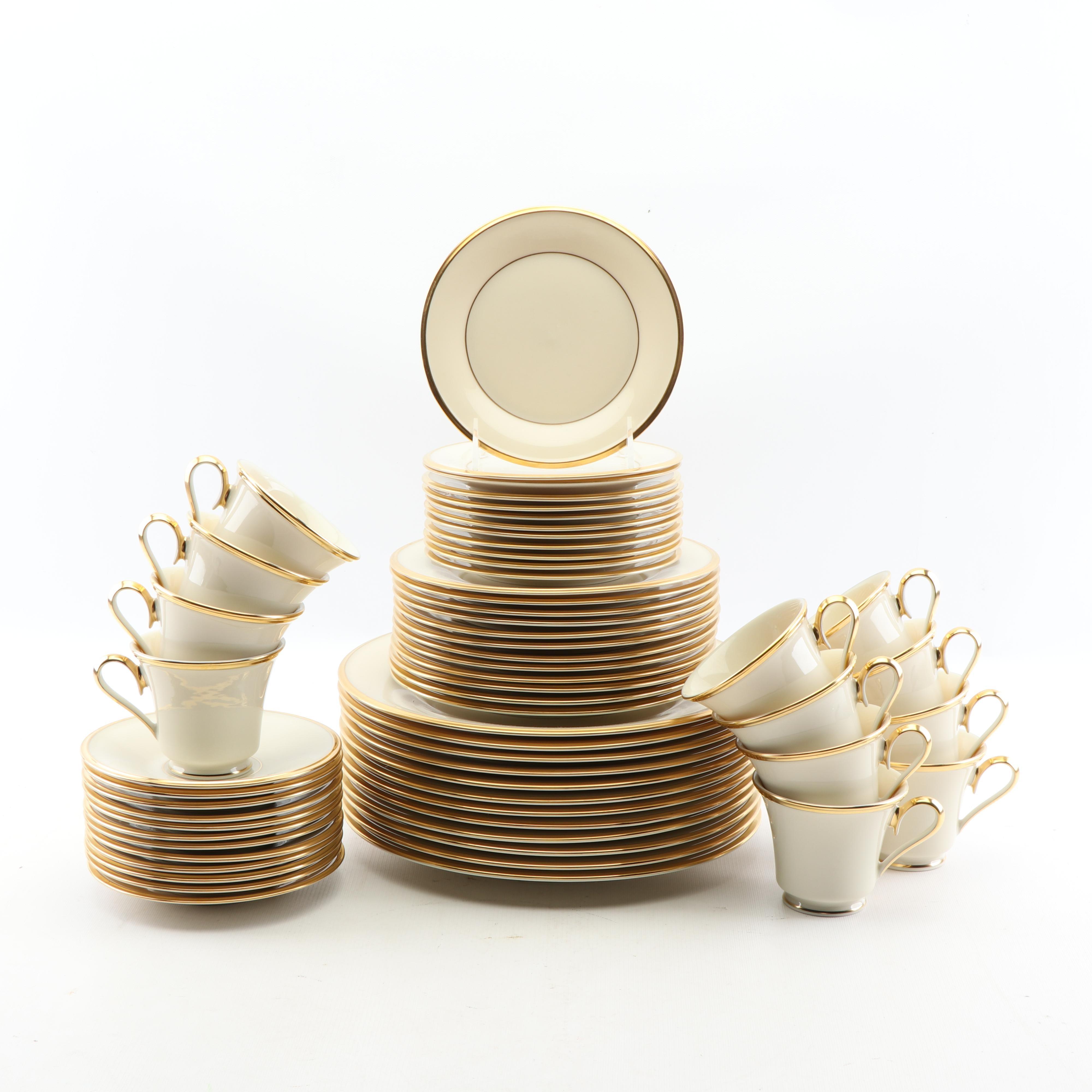 "Lenox ""Eternal"" Sixty-Piece Porcelain Dinnerware Set with 24K Gold Accents"