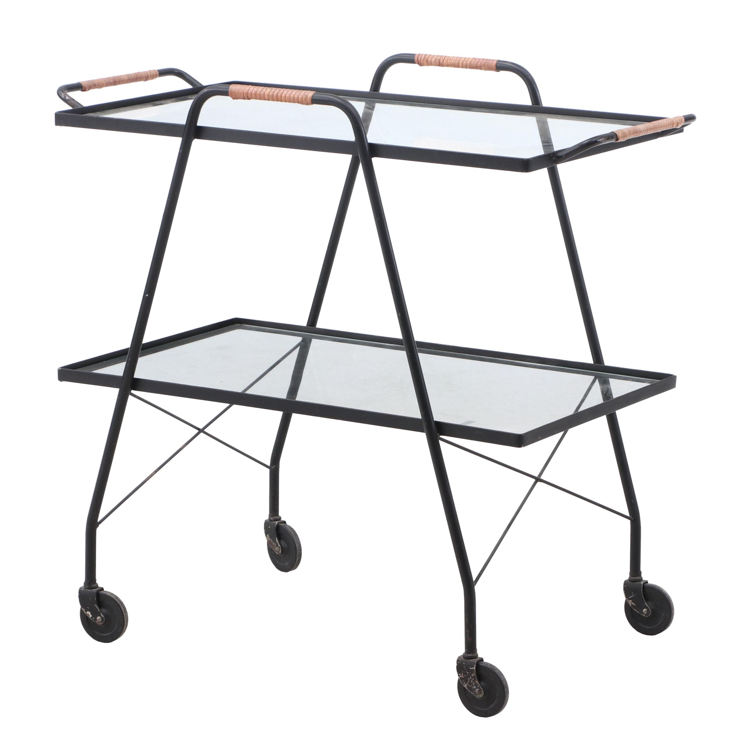 Movable Two-Tier Metal and Glass Top Beverage Cart