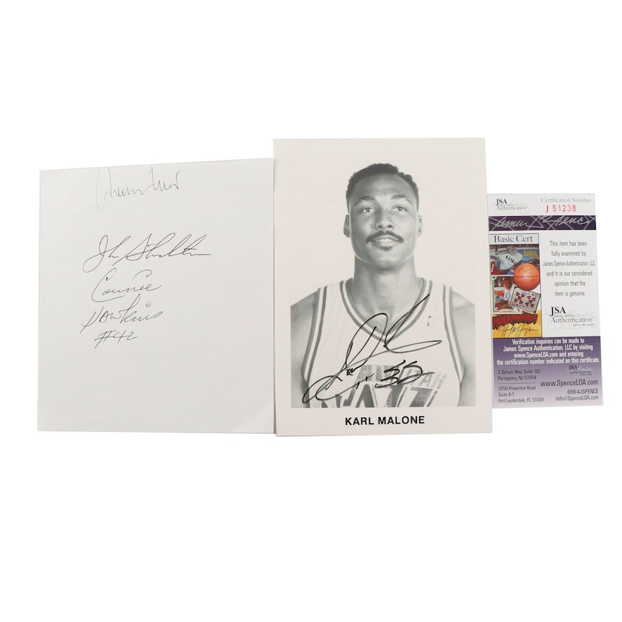 bb2ccfc8a67 Karl Malone Autographed Photograph with HOF Players Signed Card - JSA COA    EBTH