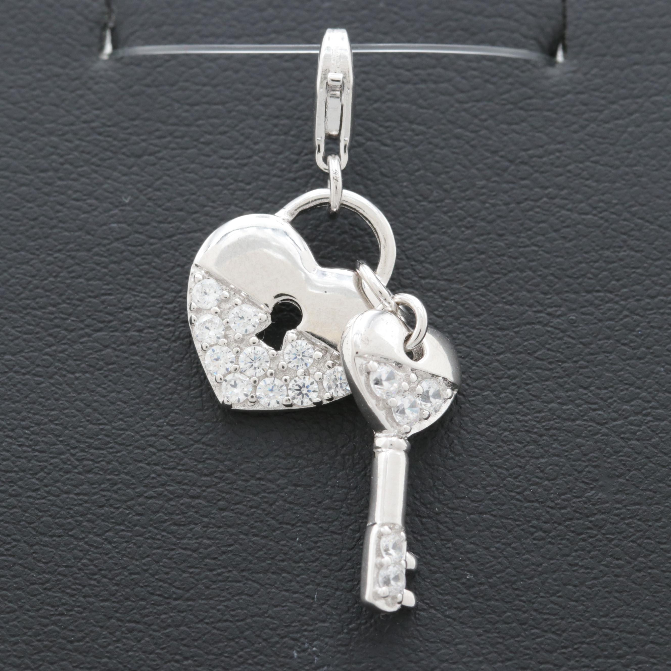 Sterling Silver Cubic Zirconia Heart and Key Charm