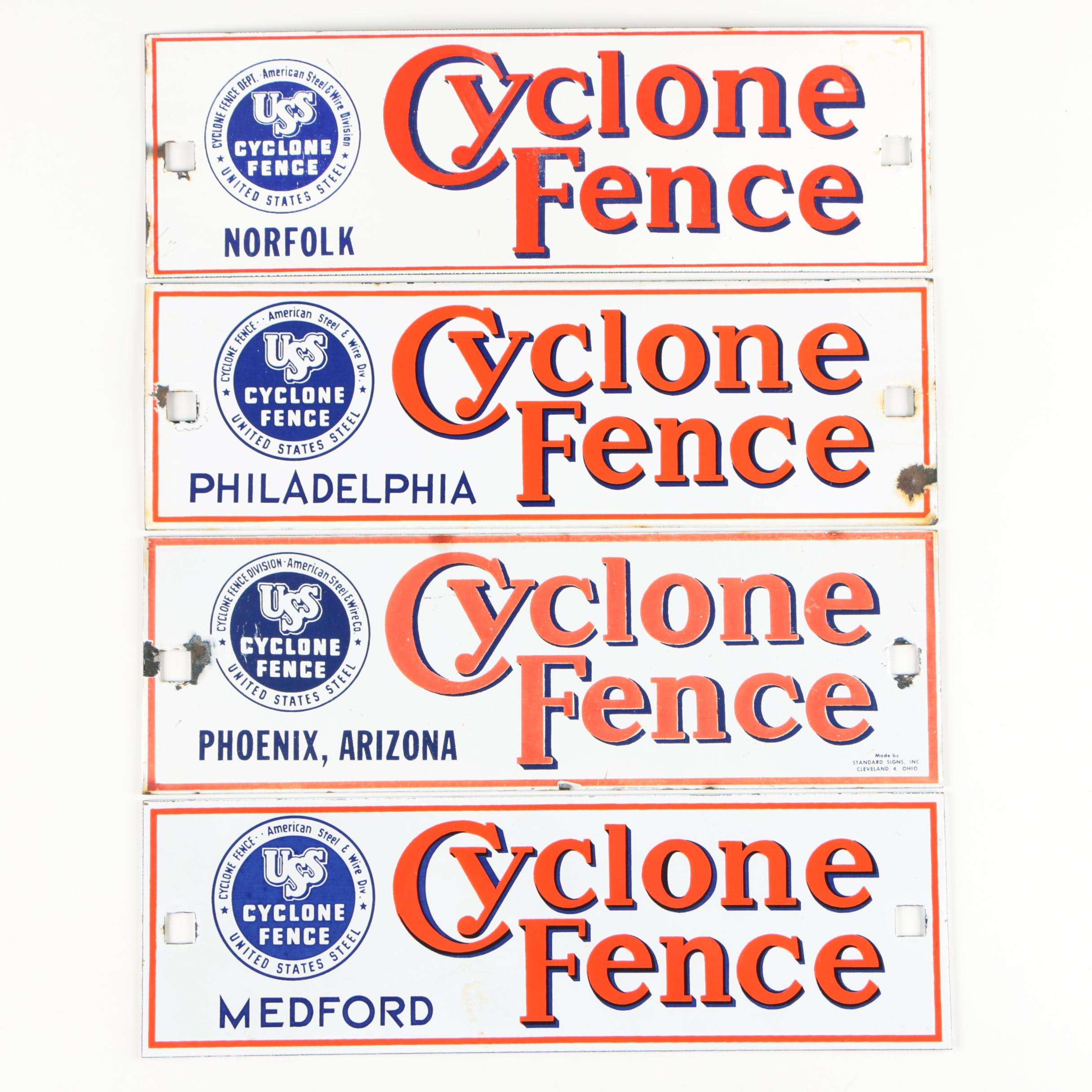 Cyclone Fence Enameled Metal Signs, 20th Century