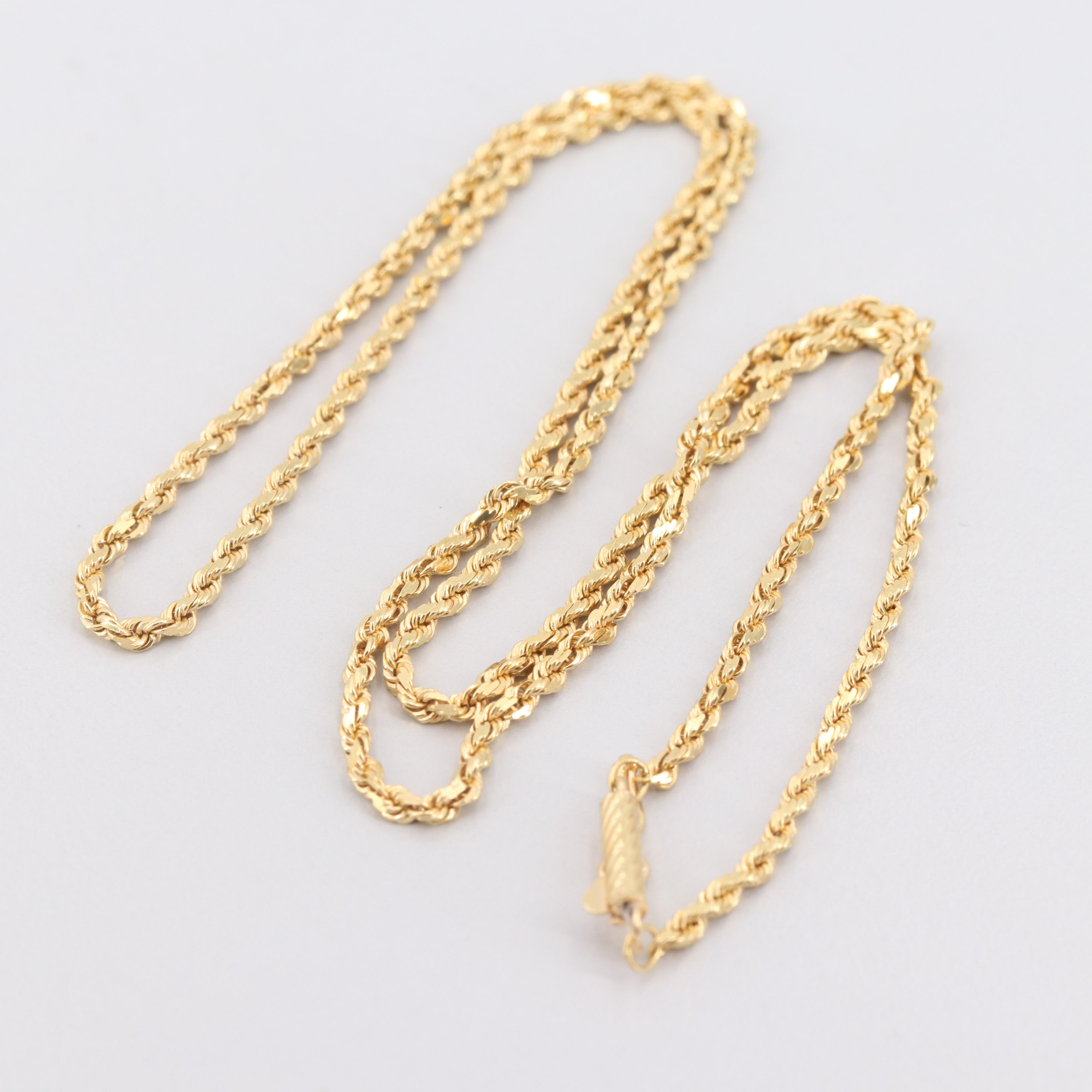 18K Yellow Gold Fancy Rope Chain Necklace