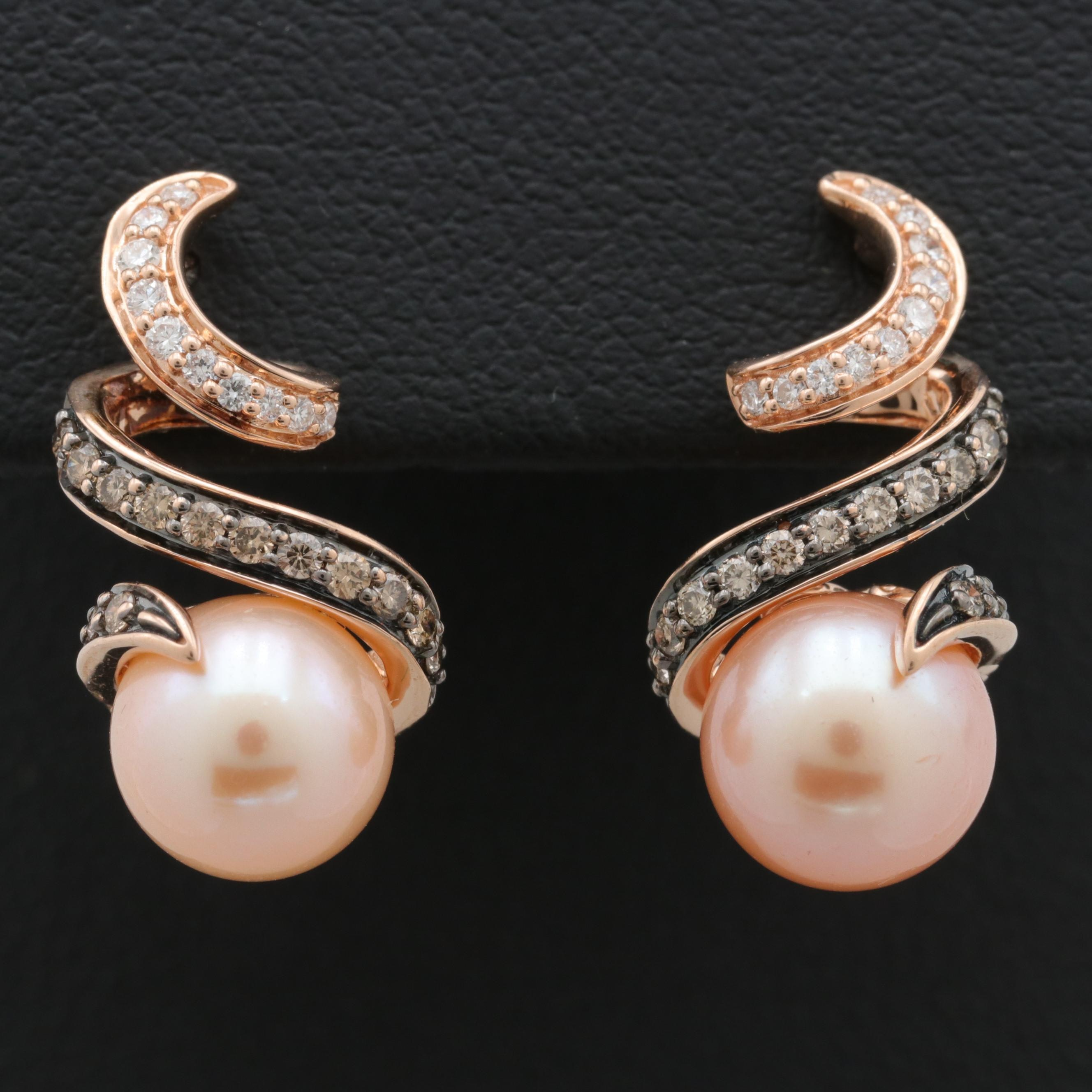 Le Vian 14KT Rose Gold Cultured Pearl and Diamond Drop Earrings