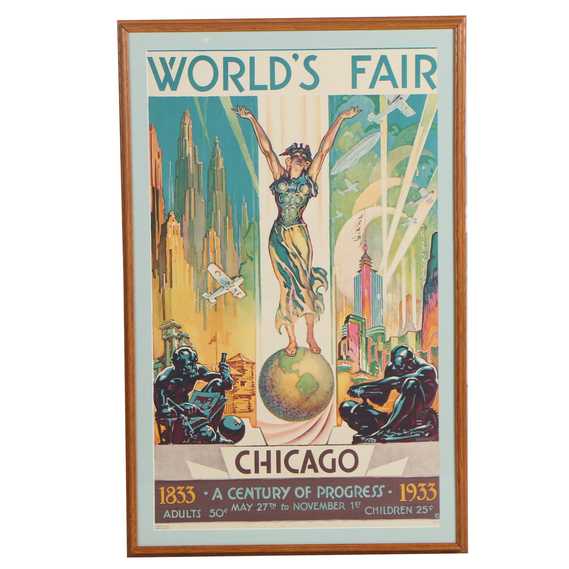 """Chicago World's Fair Poster by Glenn C. Sheffer """"A Century of Progress"""", 1933"""