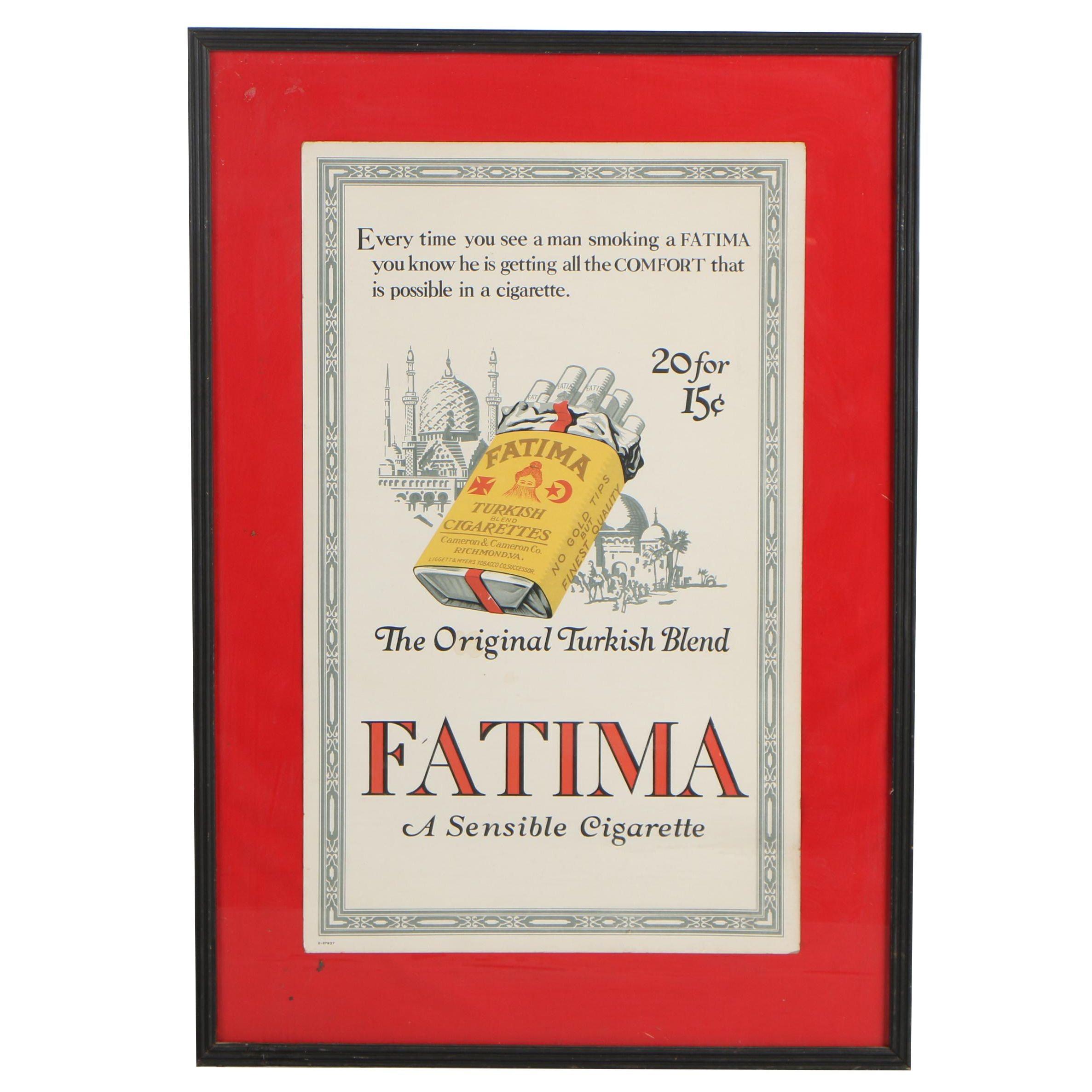 Fatima Cigarette Poster, circa 1915