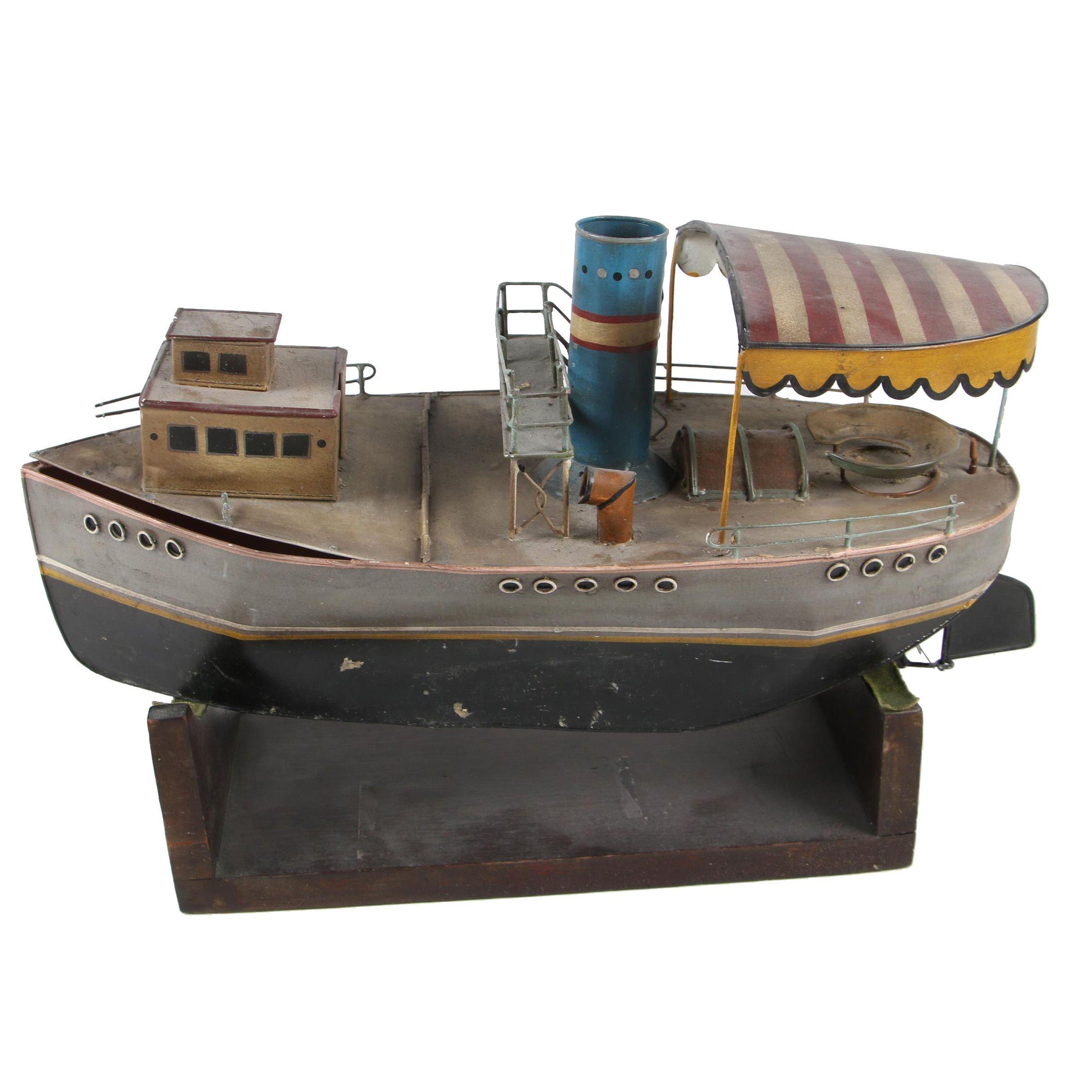 Decorative Tole Tugboat Model, Mid-Century