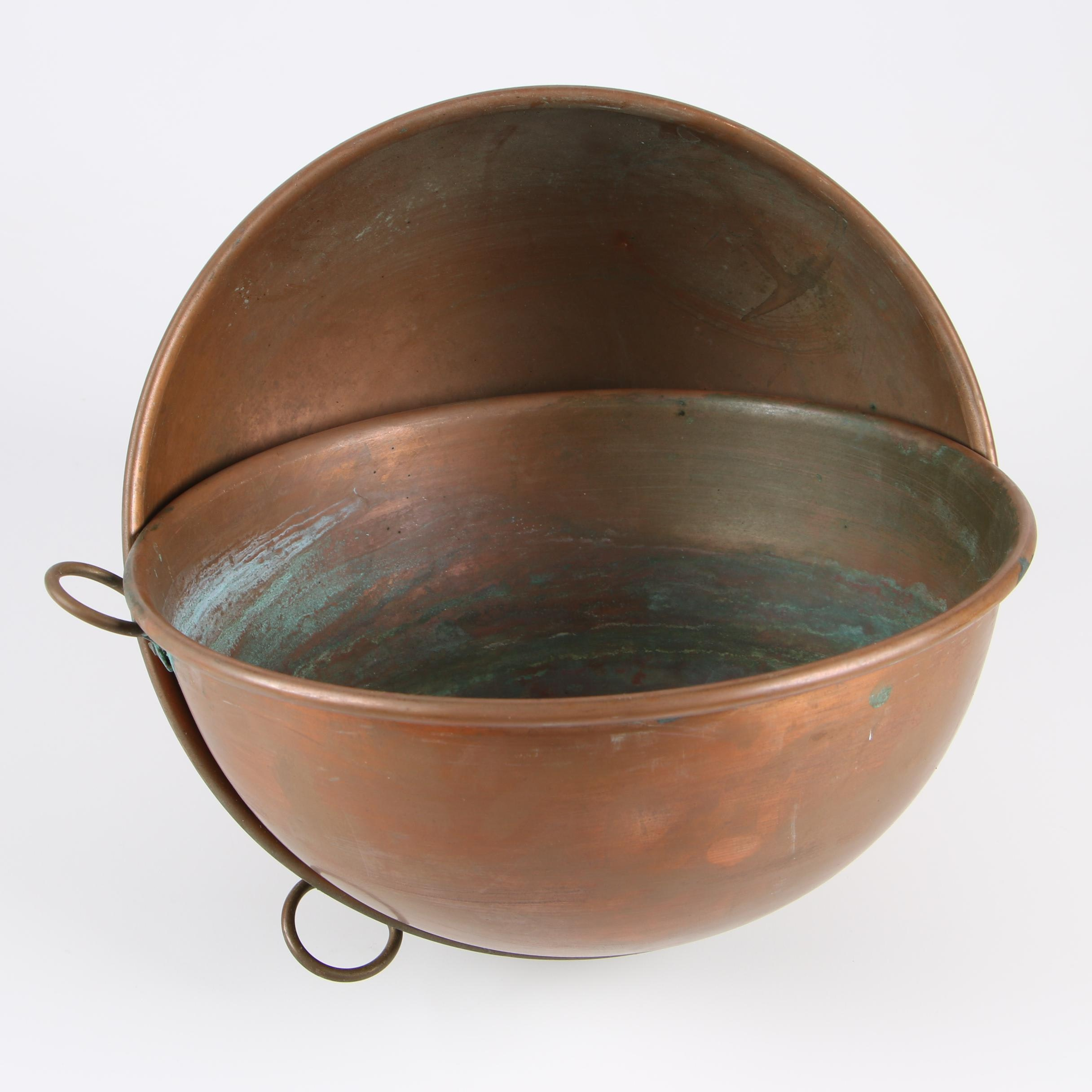 Pair of Copper Bowls with Hooks