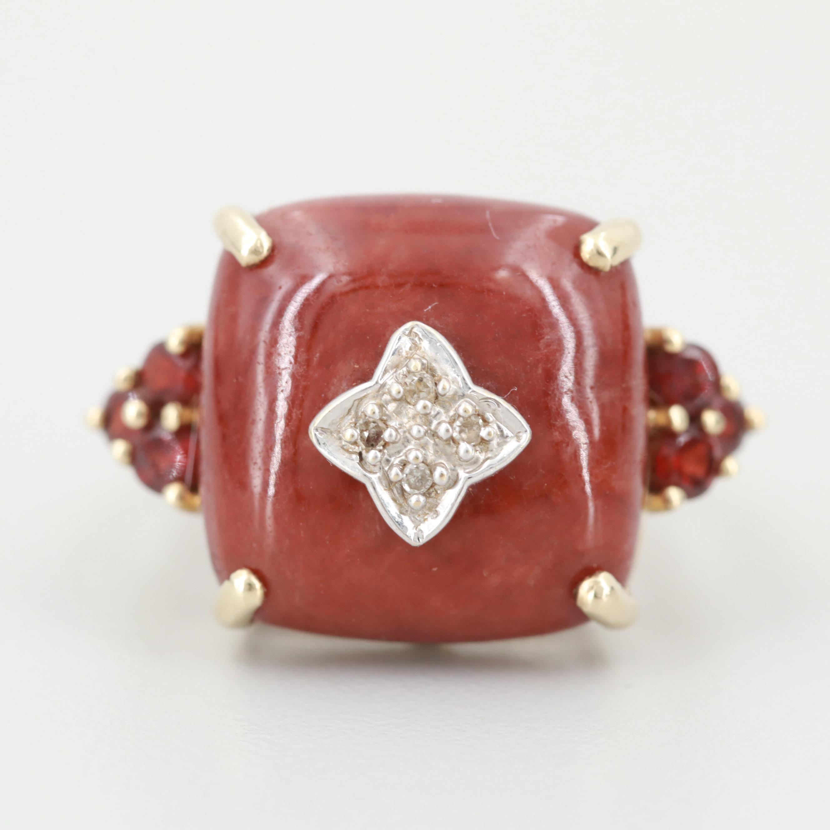 10K Yellow Gold Jadeite, Garnet and Diamond Ring