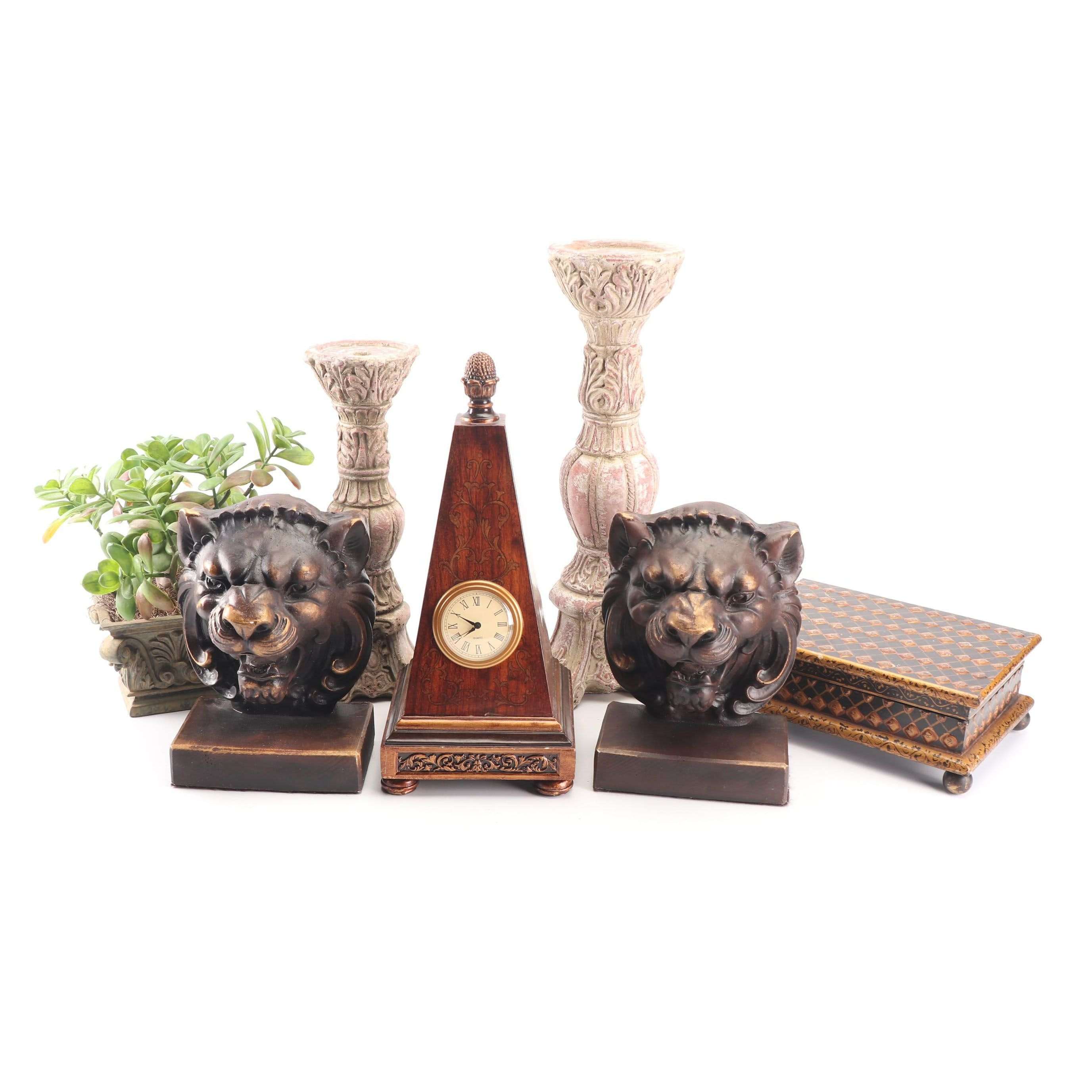 Lion's Head Bookend Pair with Wooden Obelisk Desk Clock and Other Office Décor
