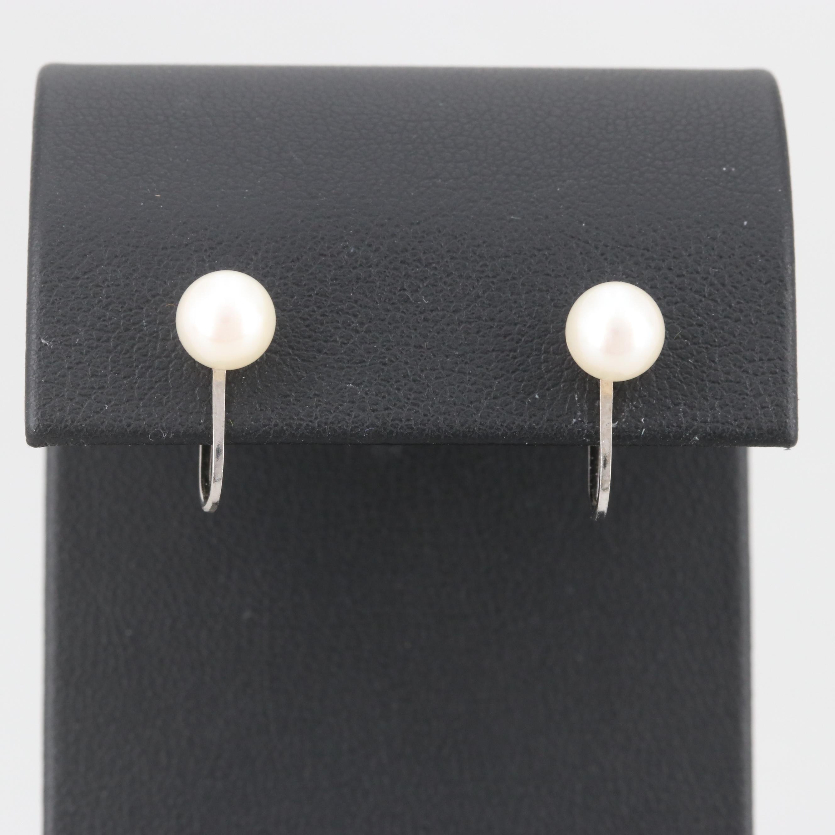 Vintage 14K White Gold Cultured Pearl Earrings
