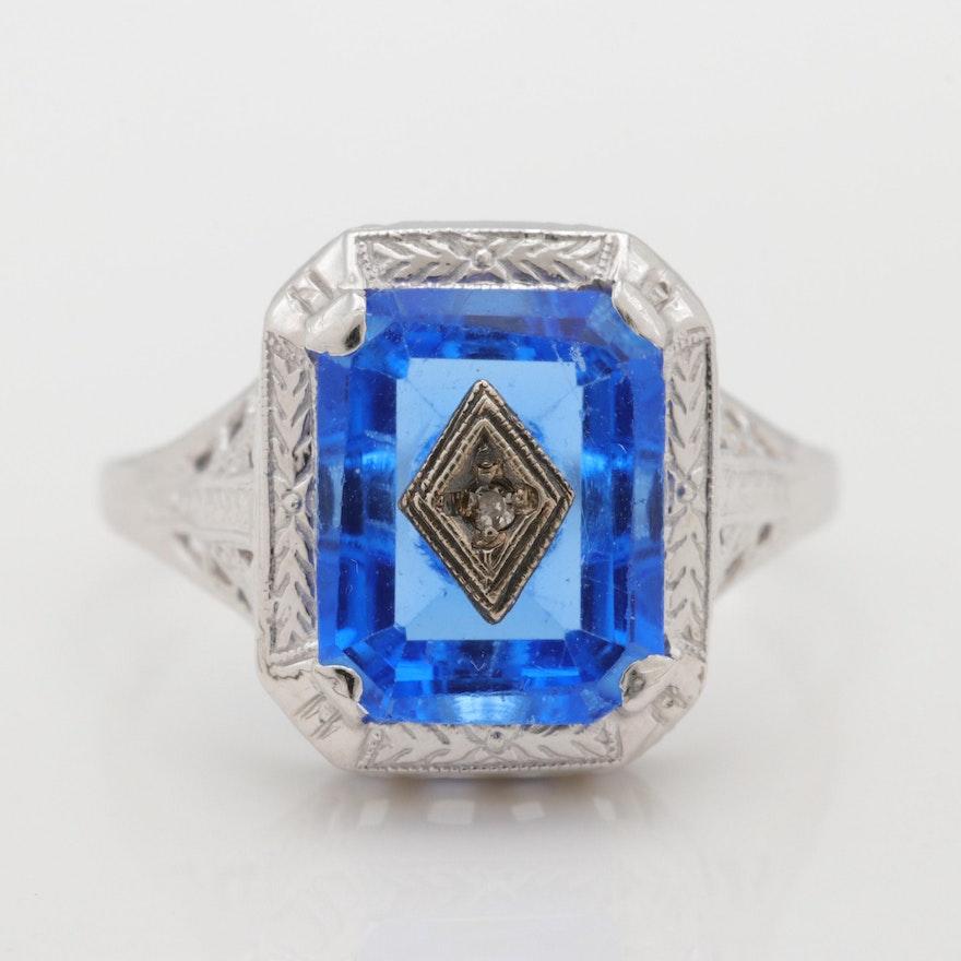 3d8814598b2b Art Deco 14K White Gold Blue Glass and Diamond Ring   EBTH