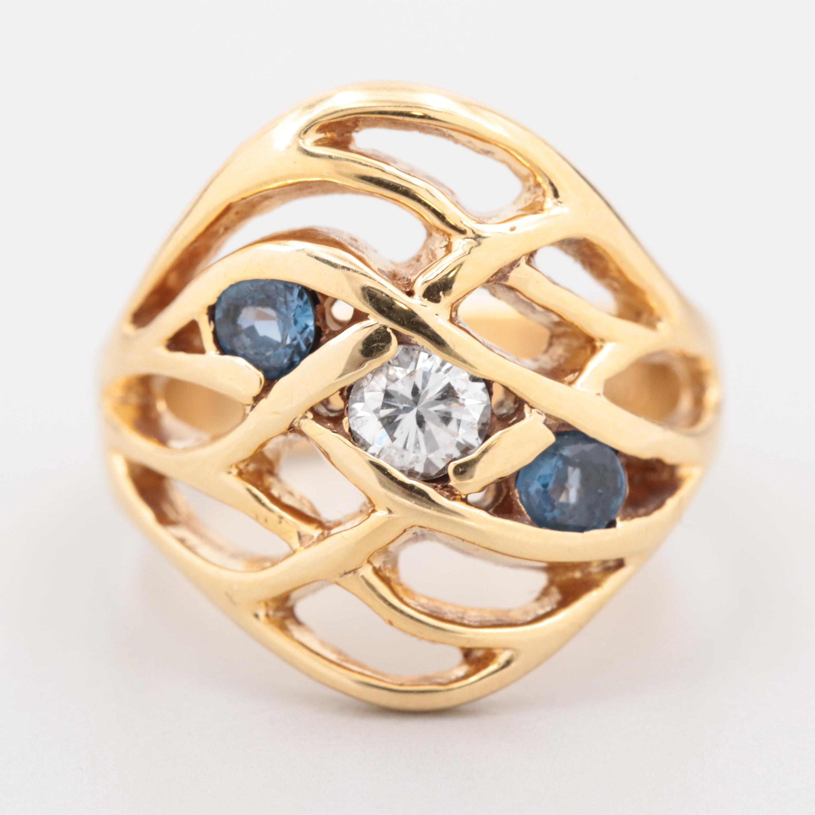 14K Yellow Gold Diamond and Blue Sapphire Ring