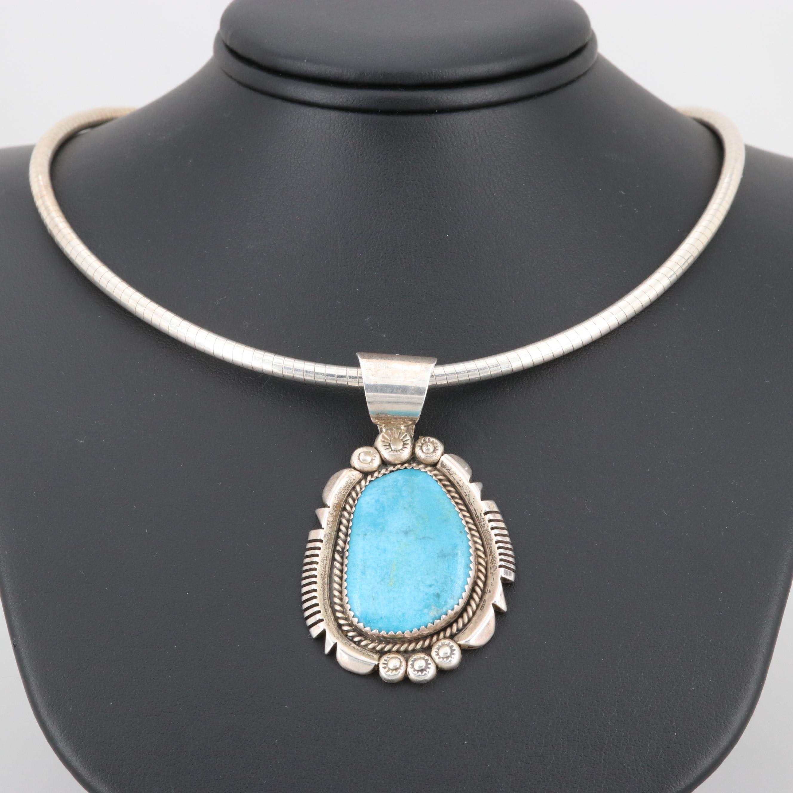 Albert H. Cleveland Navajo Diné Sterling Silver Imitation Turquoise Necklace