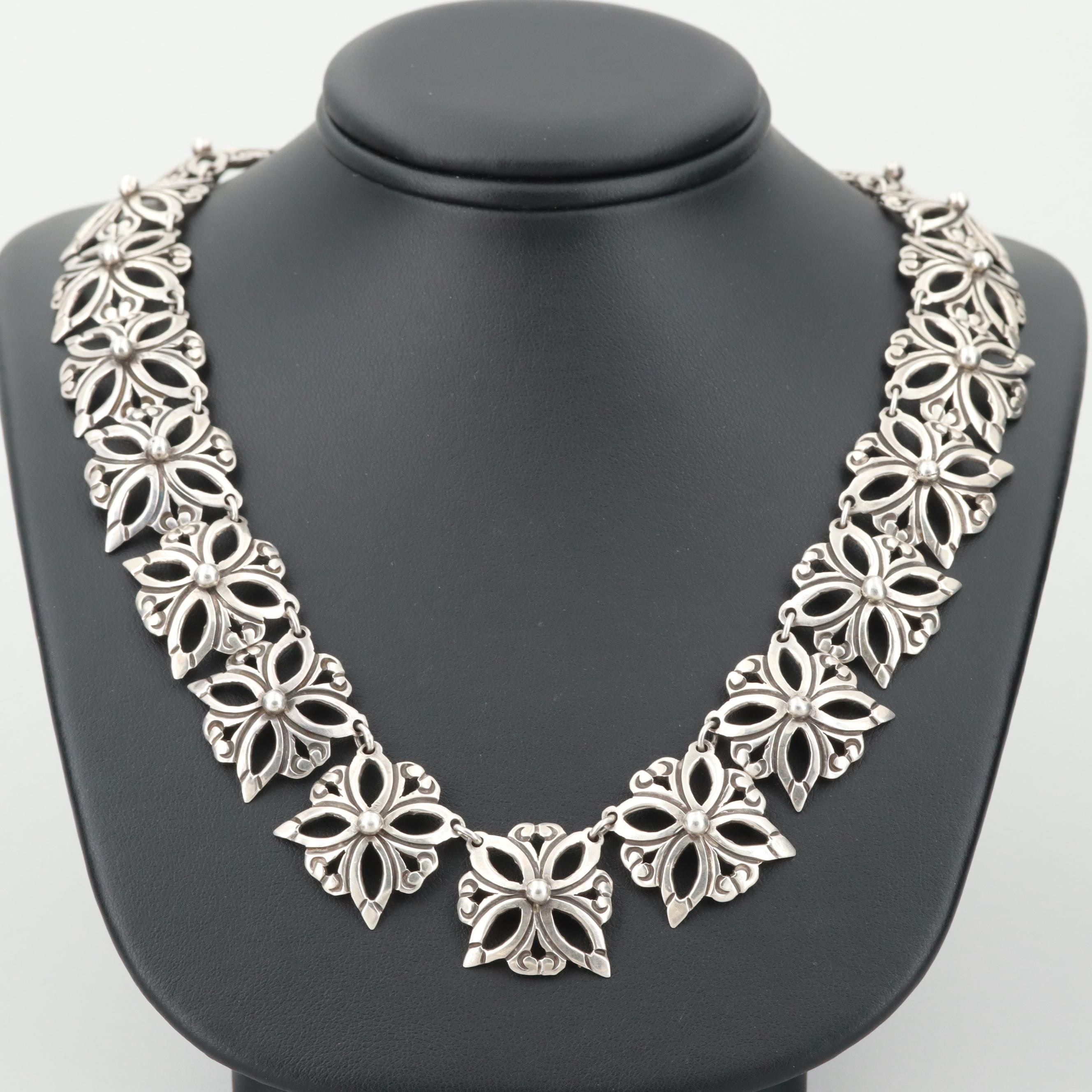 Mexican Sterling Silver Link Necklace Attribute to M.Ocampo
