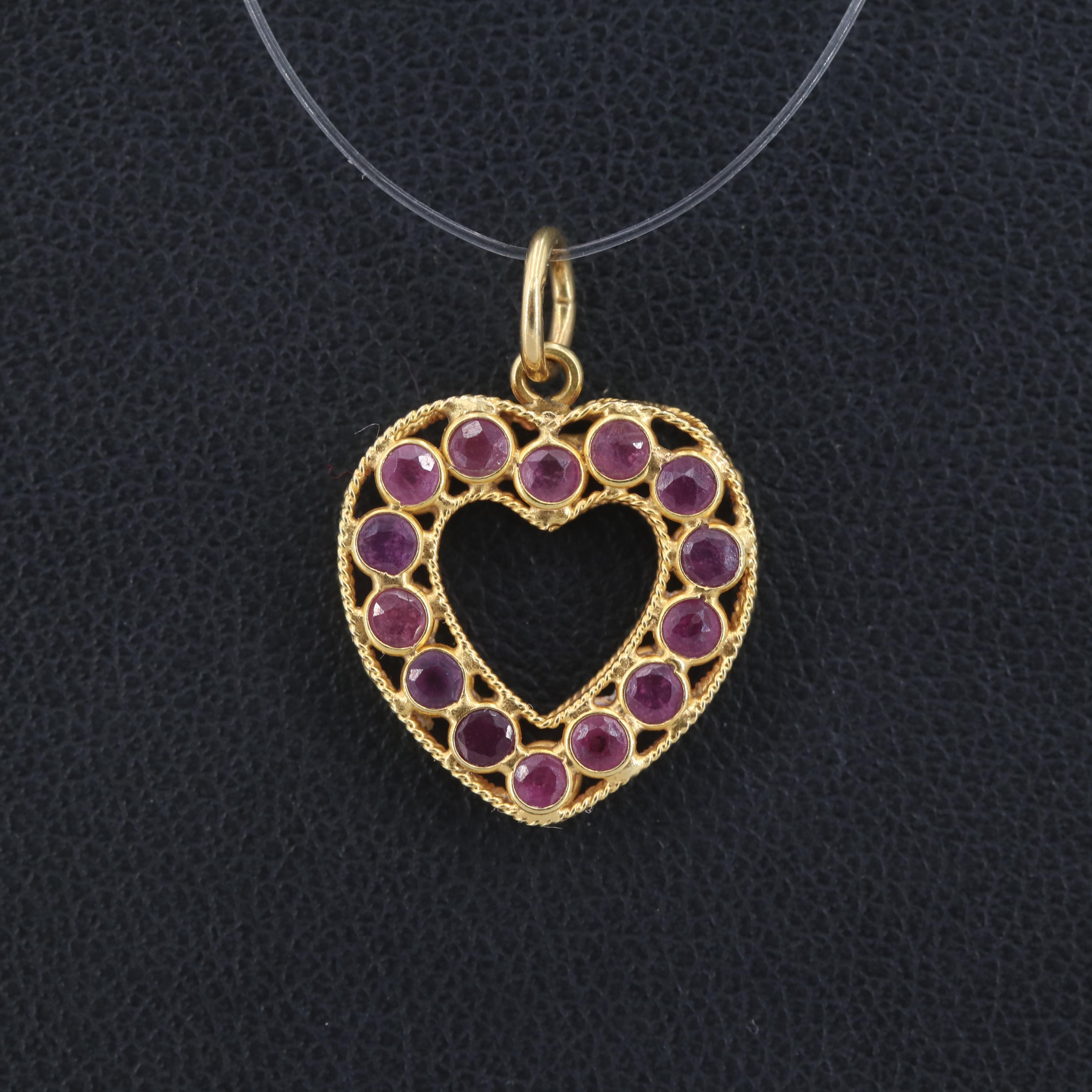 18K Yellow Gold Ruby Heart Pendant
