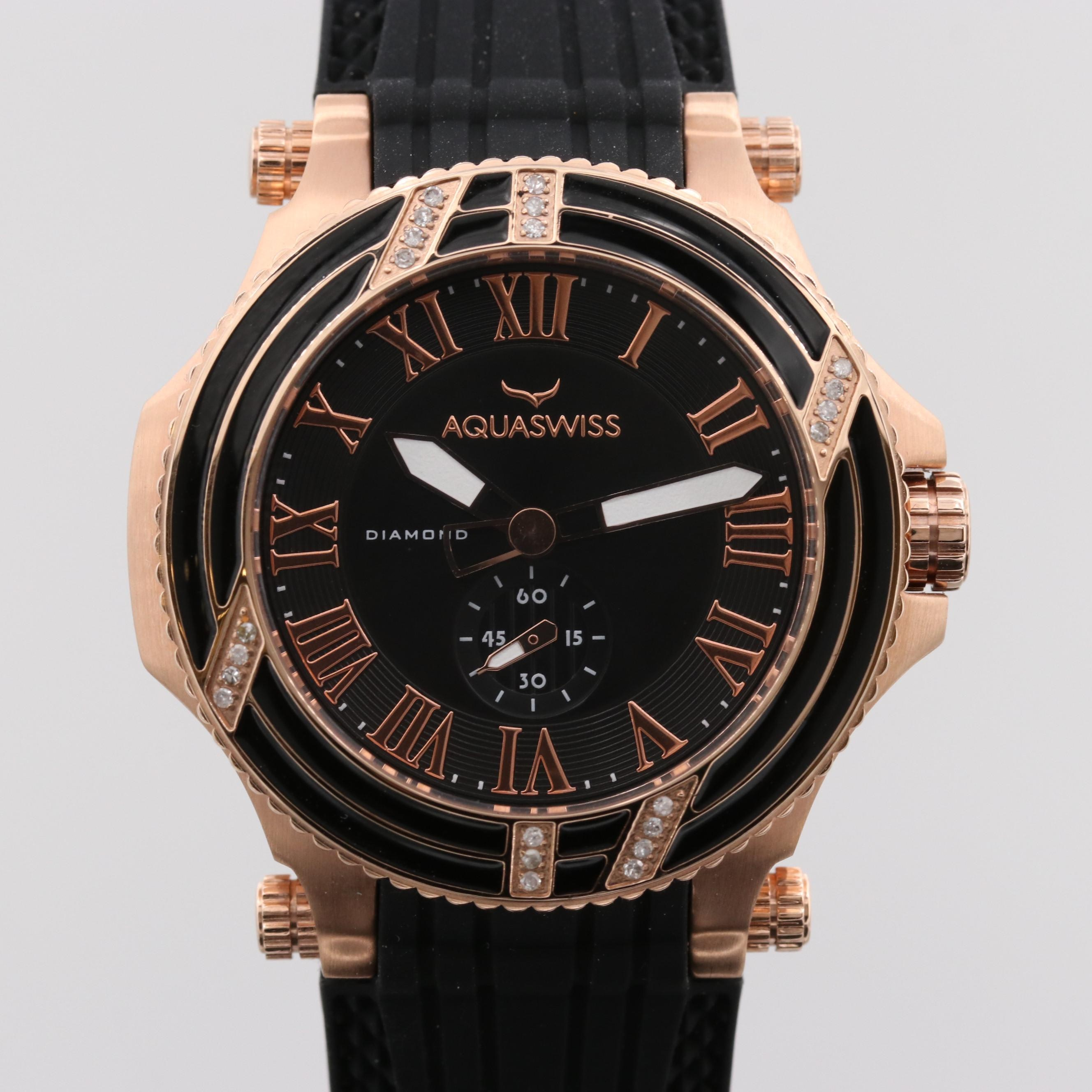 Aquaswiss Bolt L Rose Gold Tone Quartz Wristwatch With Diamond Bezel