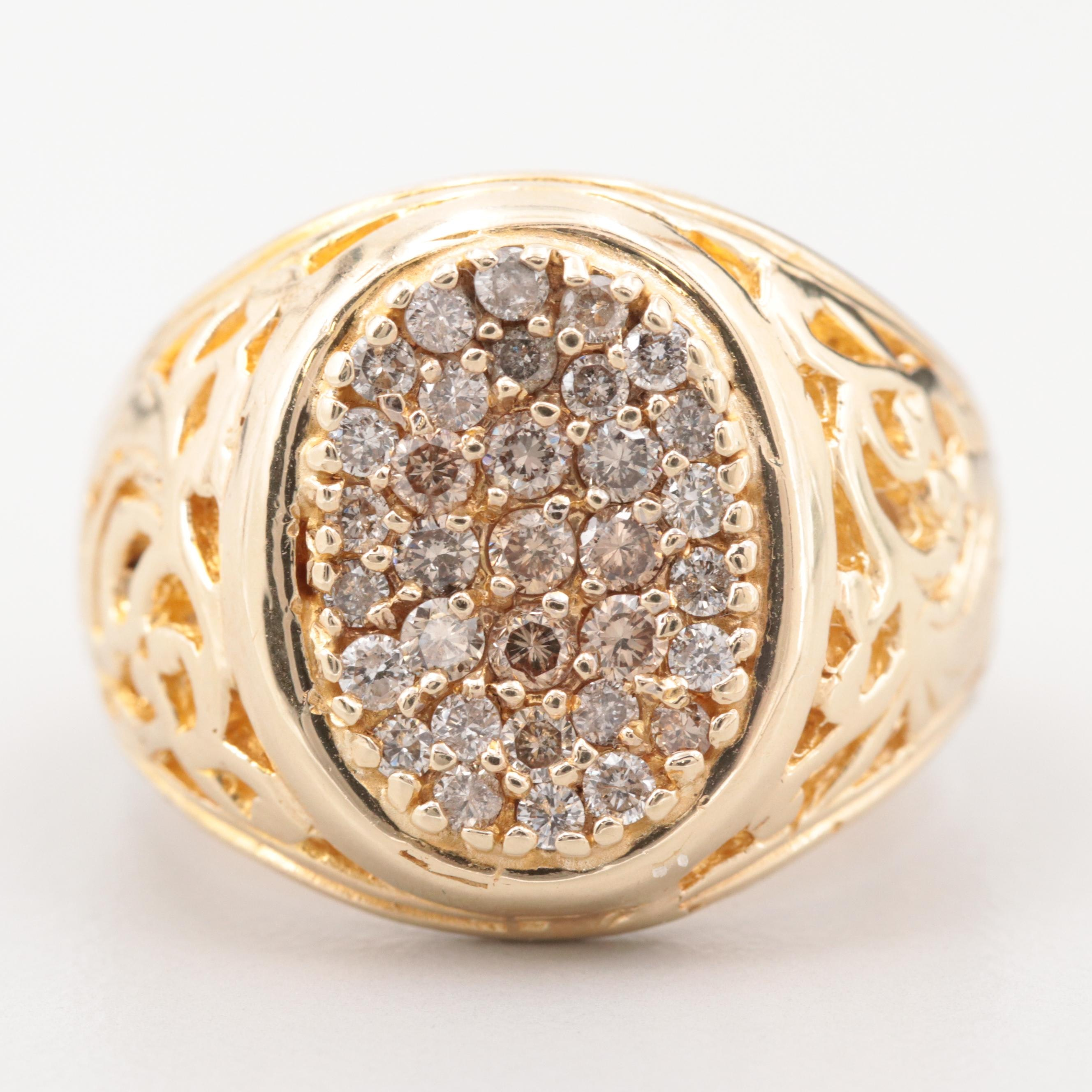 14K Yellow Gold Diamond Kentucky Cluster Ring with Openwork Detailing