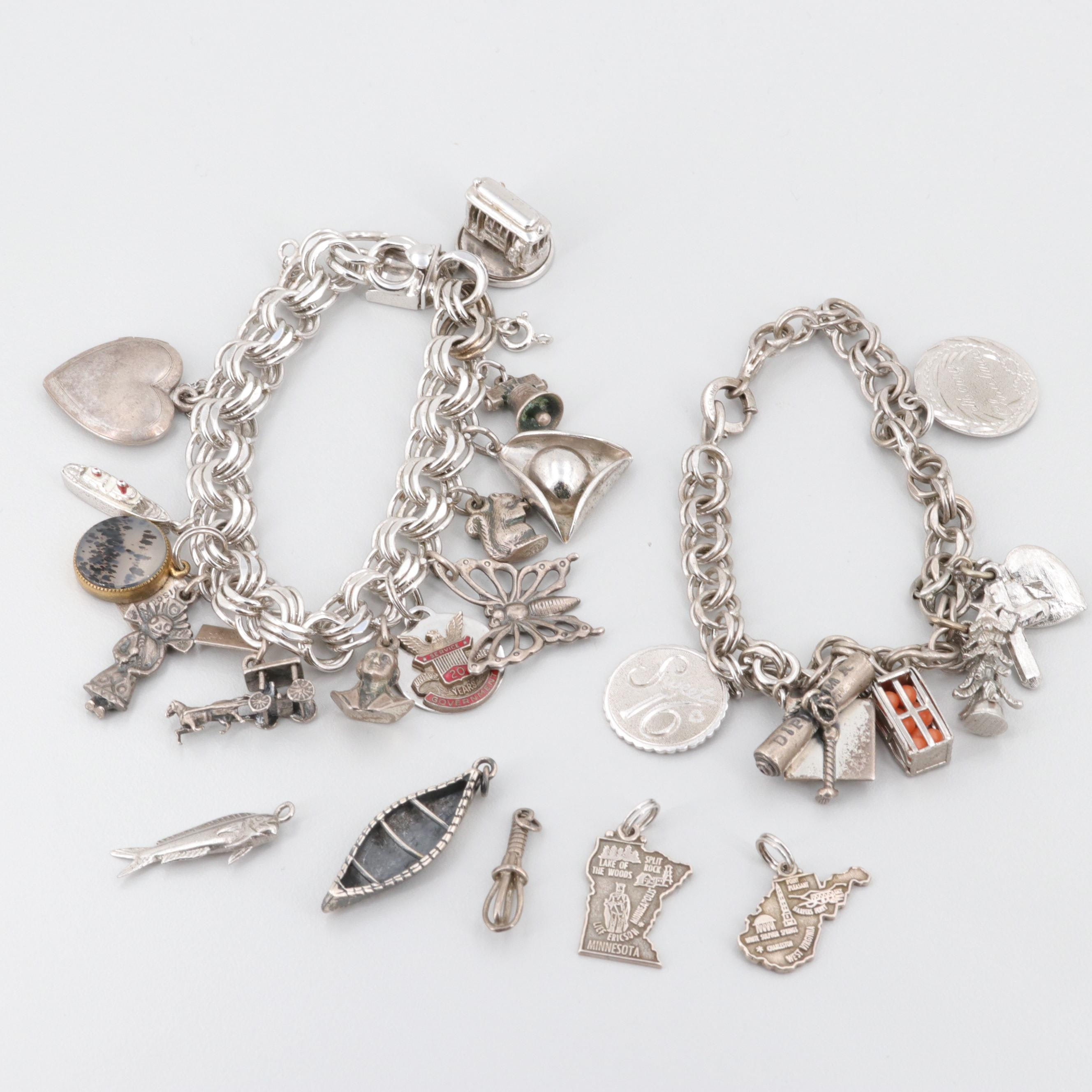 Sterling Silver Charm Bracelet and Loose Charms Including Agate and Glass