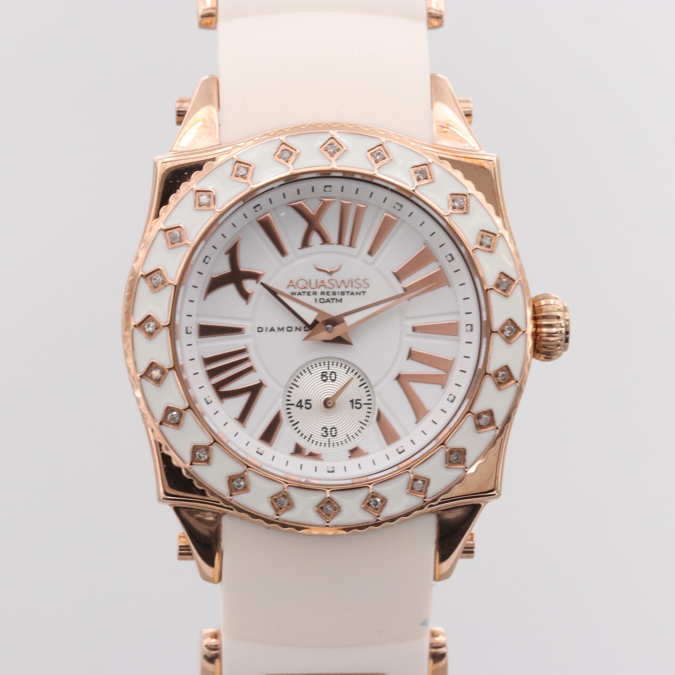 Aquaswiss Swissport 24 Rose Gold Tone Quartz Wristwatch With Diamond Bezel