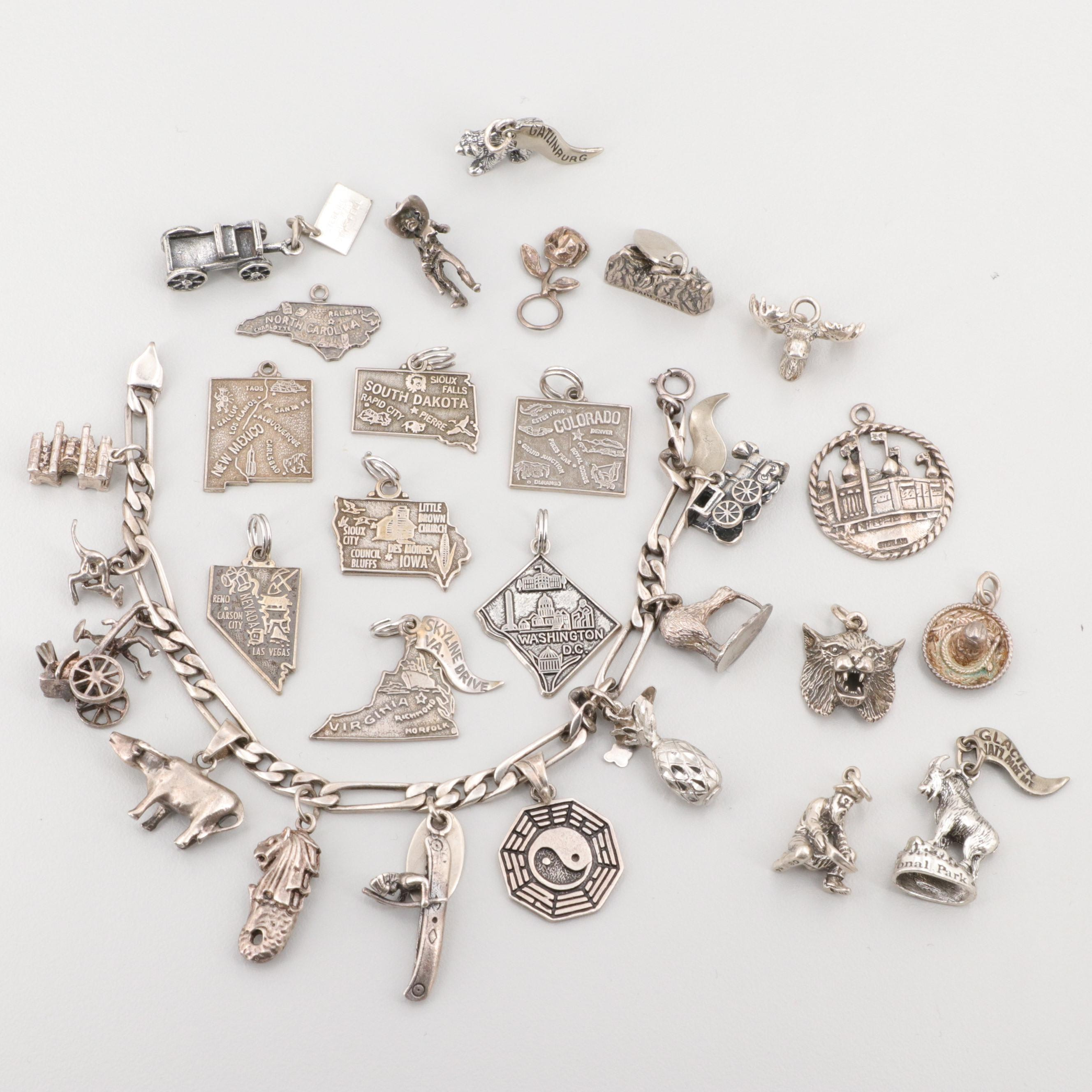 Sterling Silver Charm Bracelet and Loose Charms