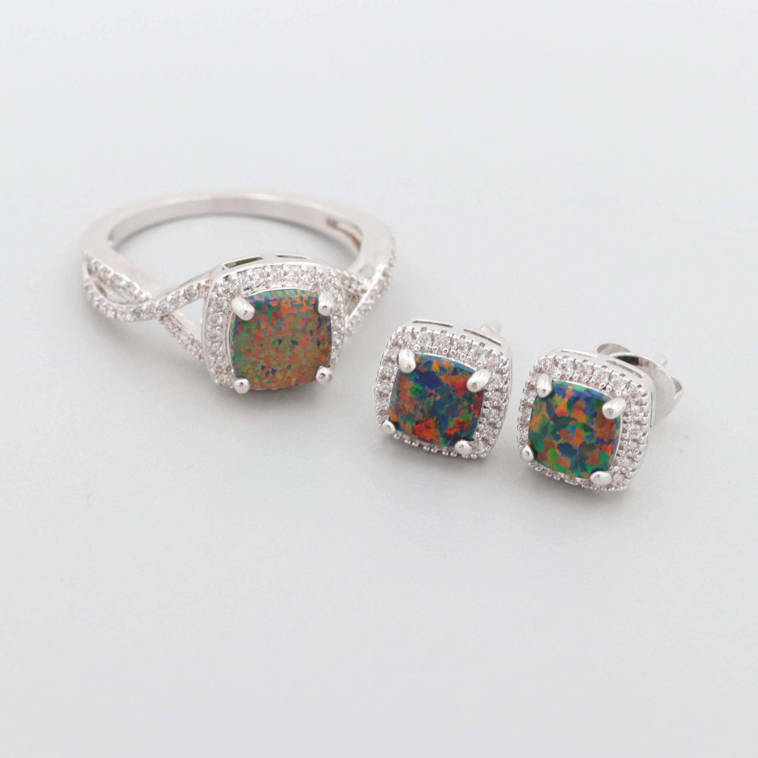Silver Tone Synthetic Opal and Cubic Zirconia Ring and Stud Earrings