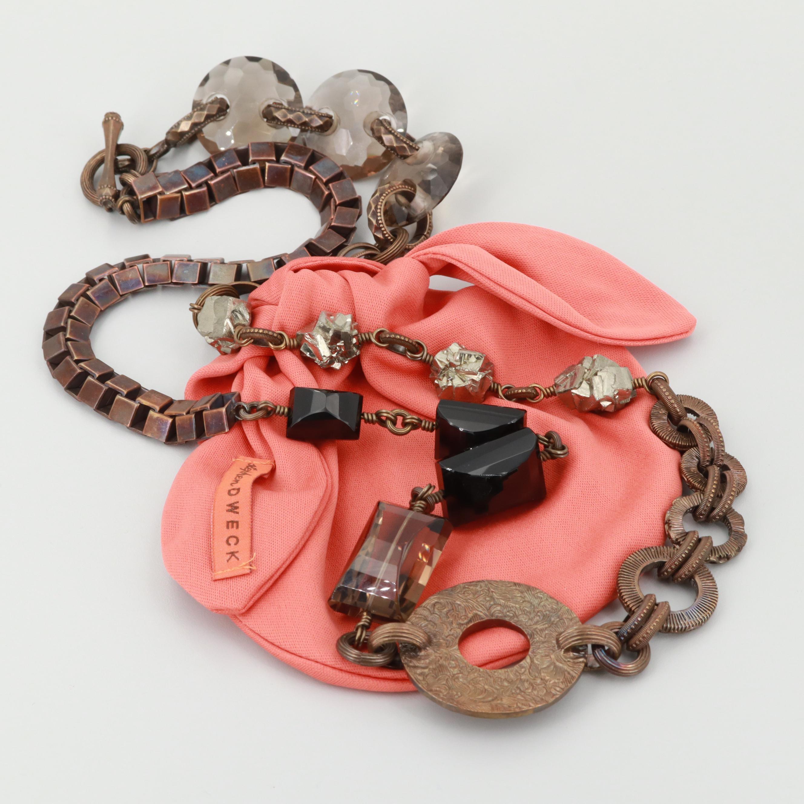 Stephen Dweck Gold Tone Black Onyx and Smokey Quartz Necklace