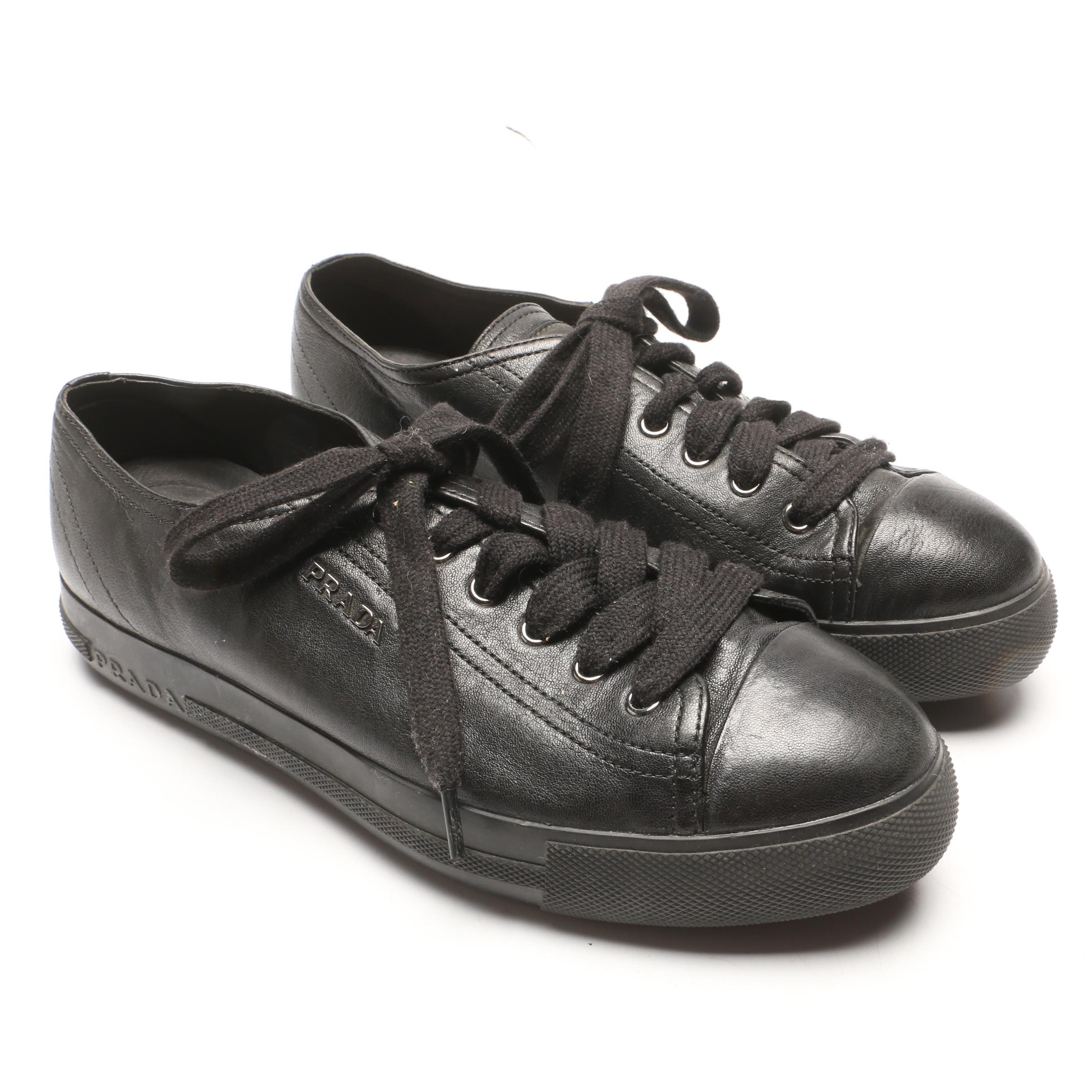 Prada Black Leather Platform Sneakers