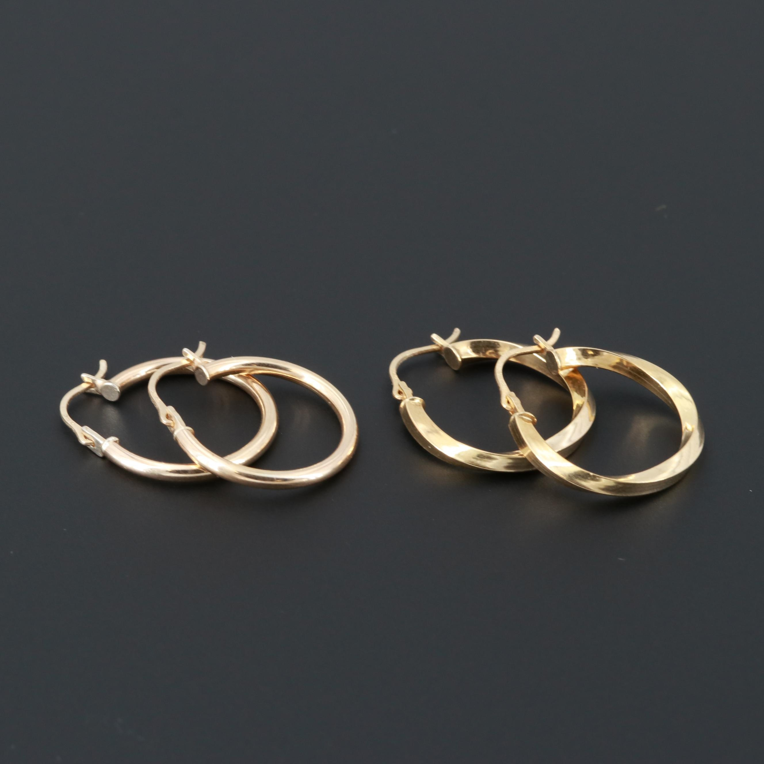 Gold Tone Hoop Earrings with 14K Yellow Gold Wires