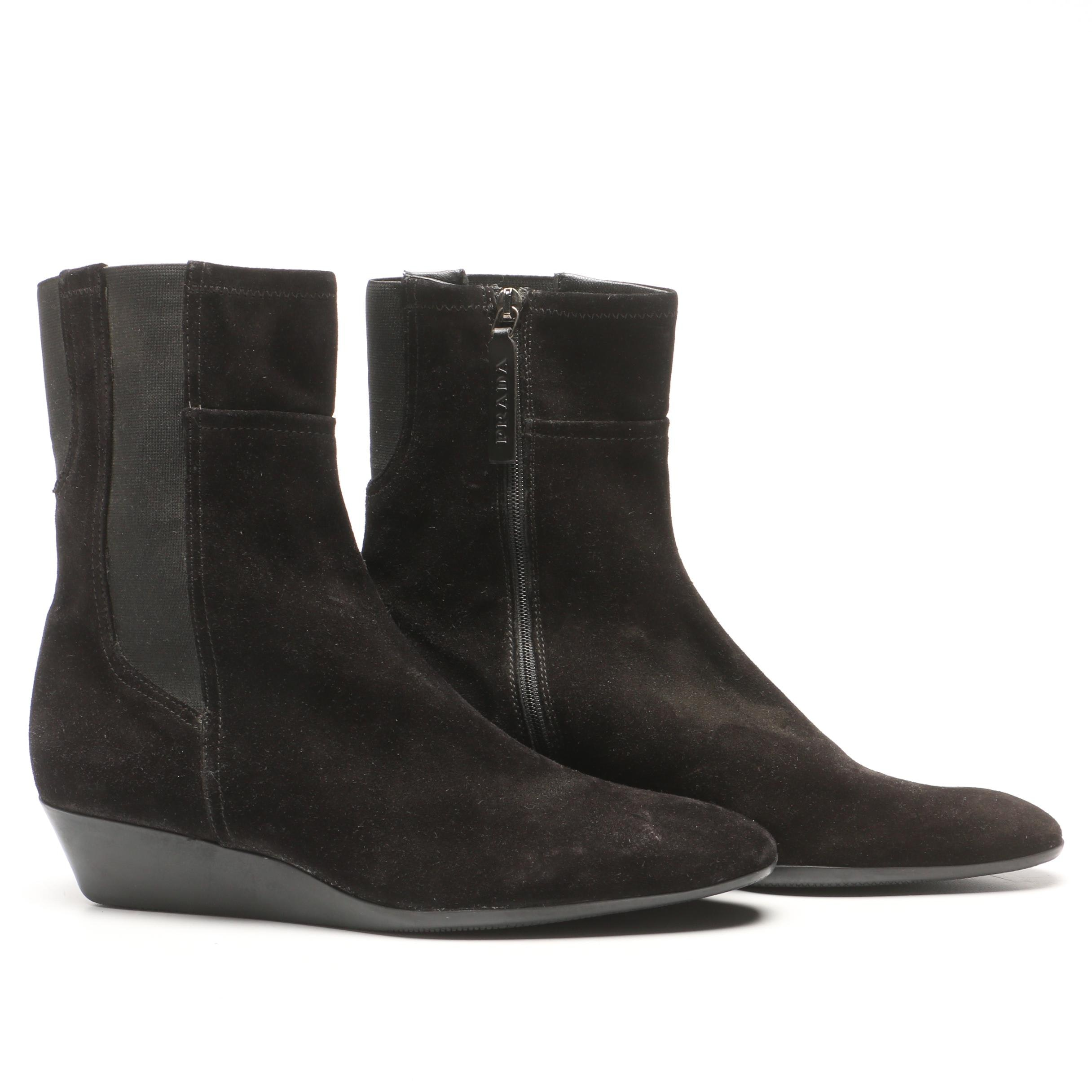 Prada Black Suede Wedge Boots, Made in Italy