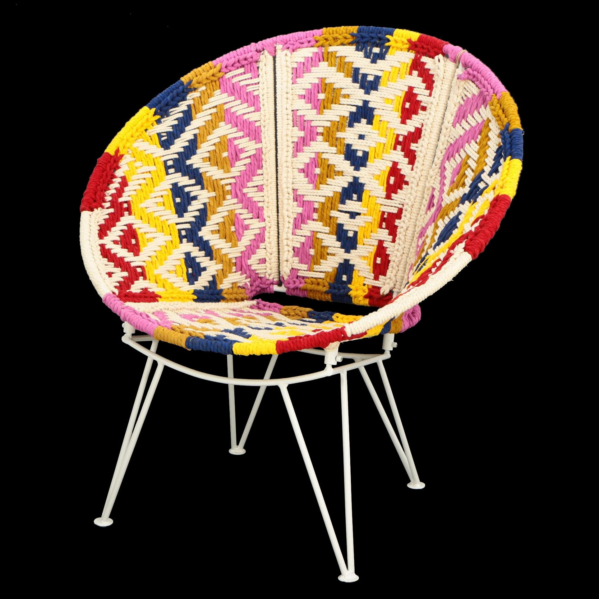 "Mid Century Modern Style ""Boho"" Woven Rope Lounge Chair"