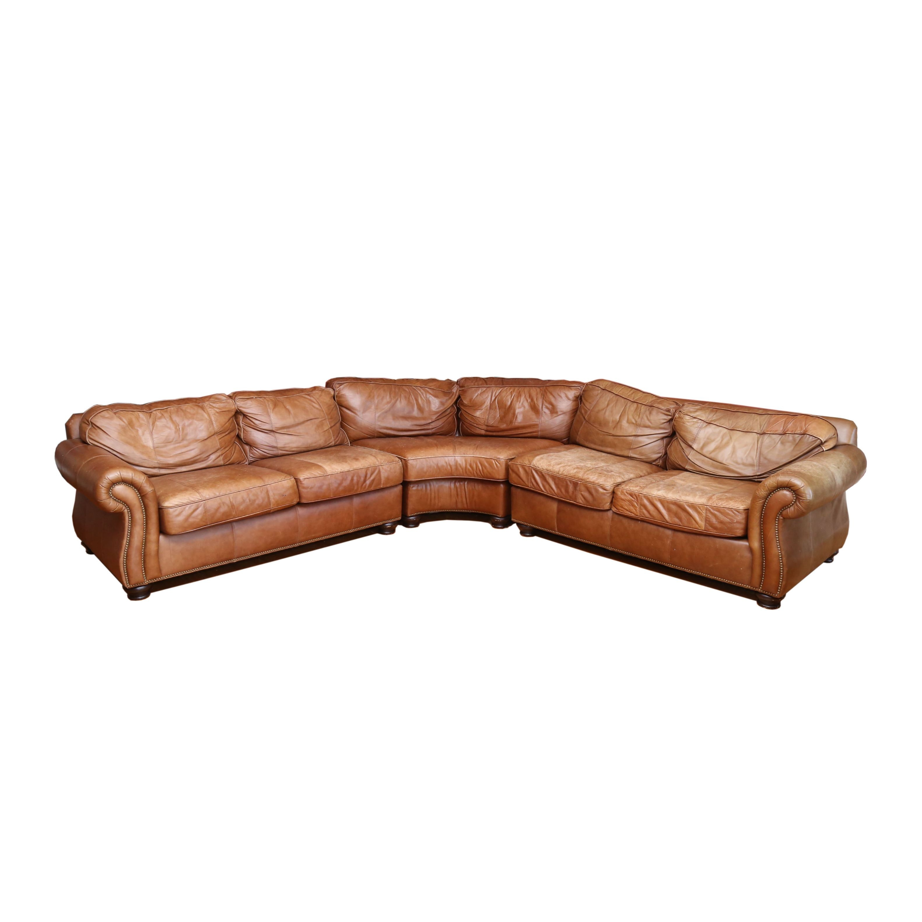 Leather Three-Piece Sectional Sofa, 21st Century