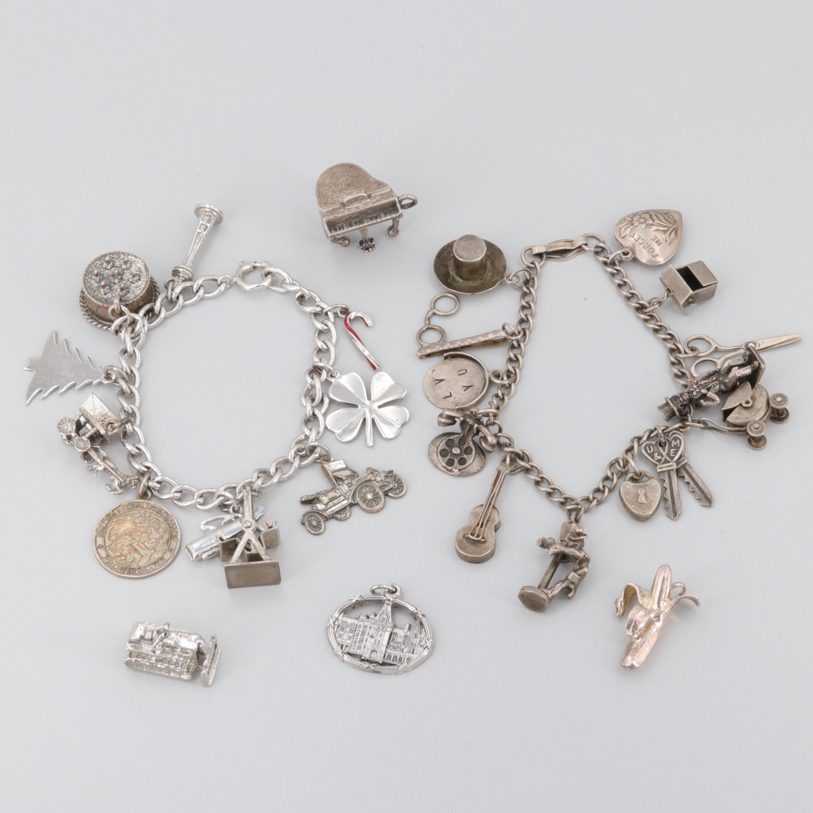 Sterling Silver Charm Bracelets and Loose Charms Including Danecraft