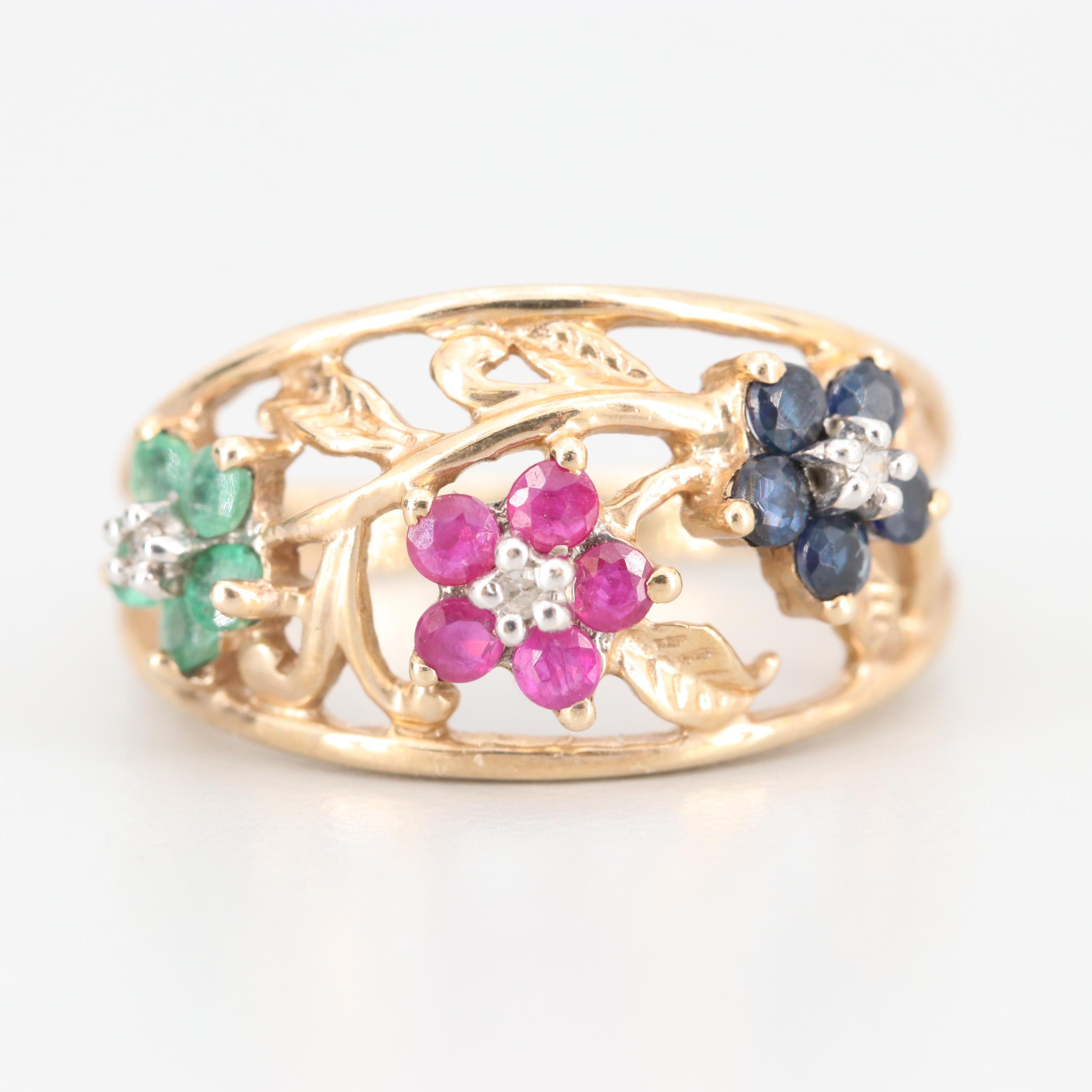 10K Yellow Gold Ruby, Sapphire, Emerald and Diamond Floral Ring