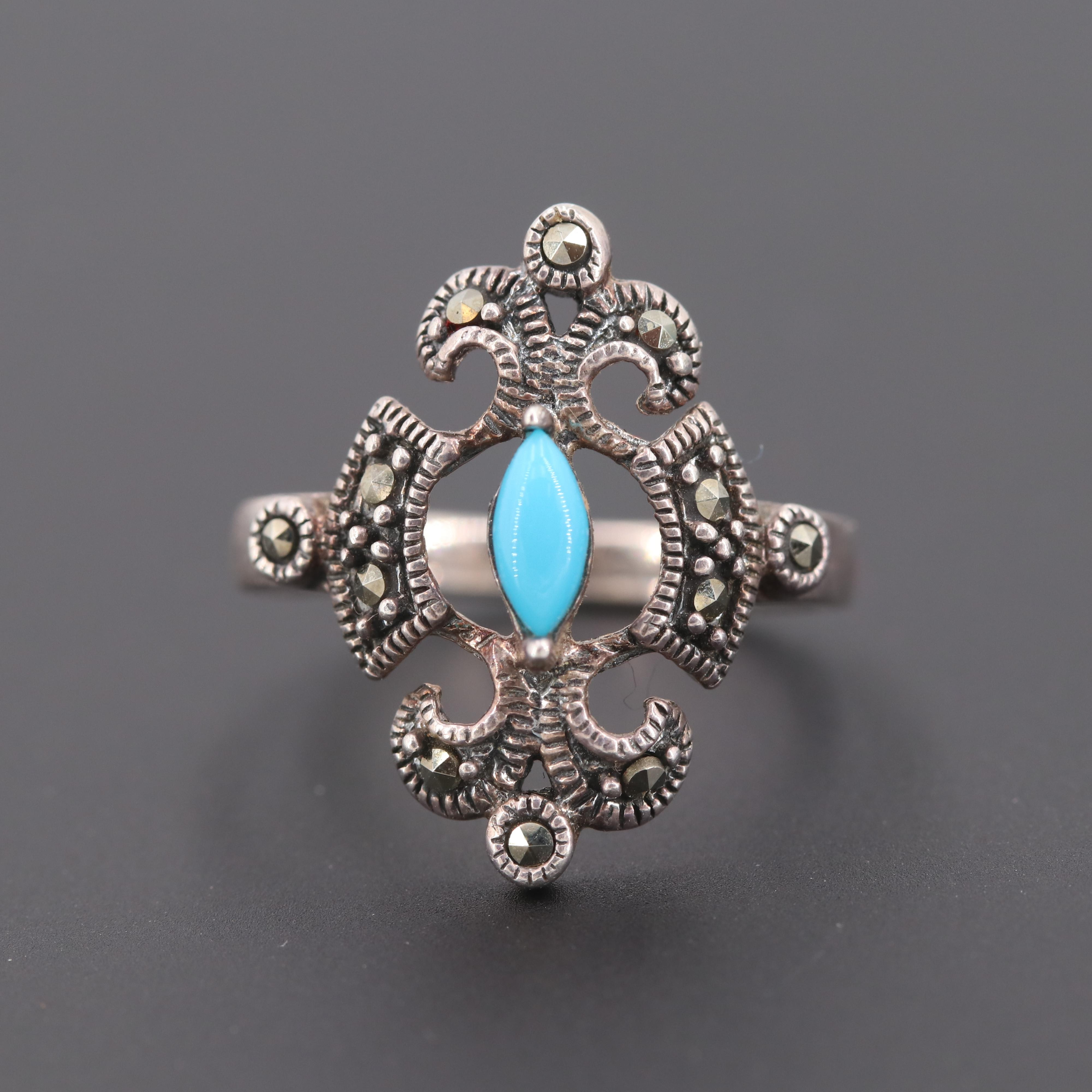 Sterling Silver Turquoise and Marcasite Ring
