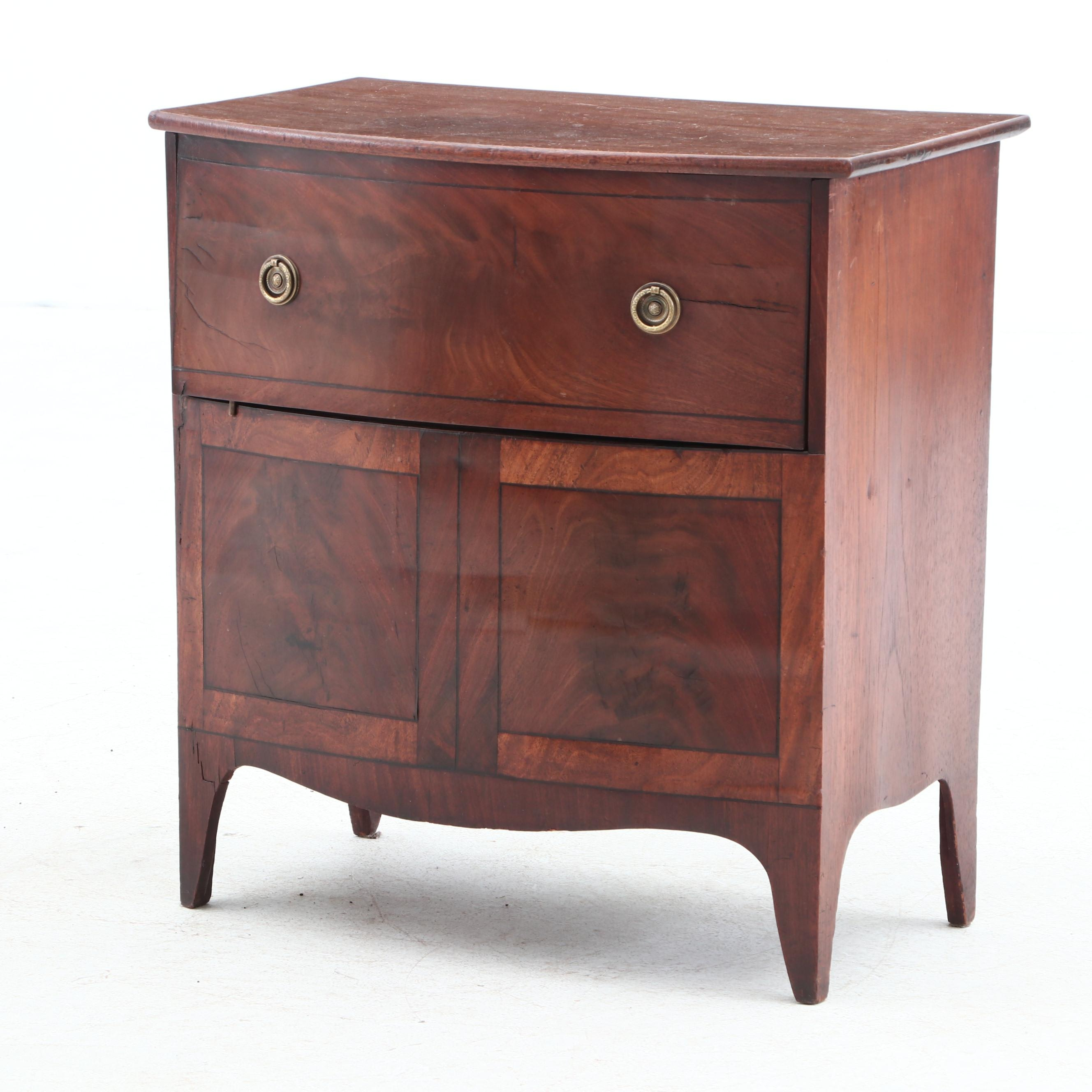 Antique Flame Mahogany Veneer Commode, Ca. Mid 19th Century