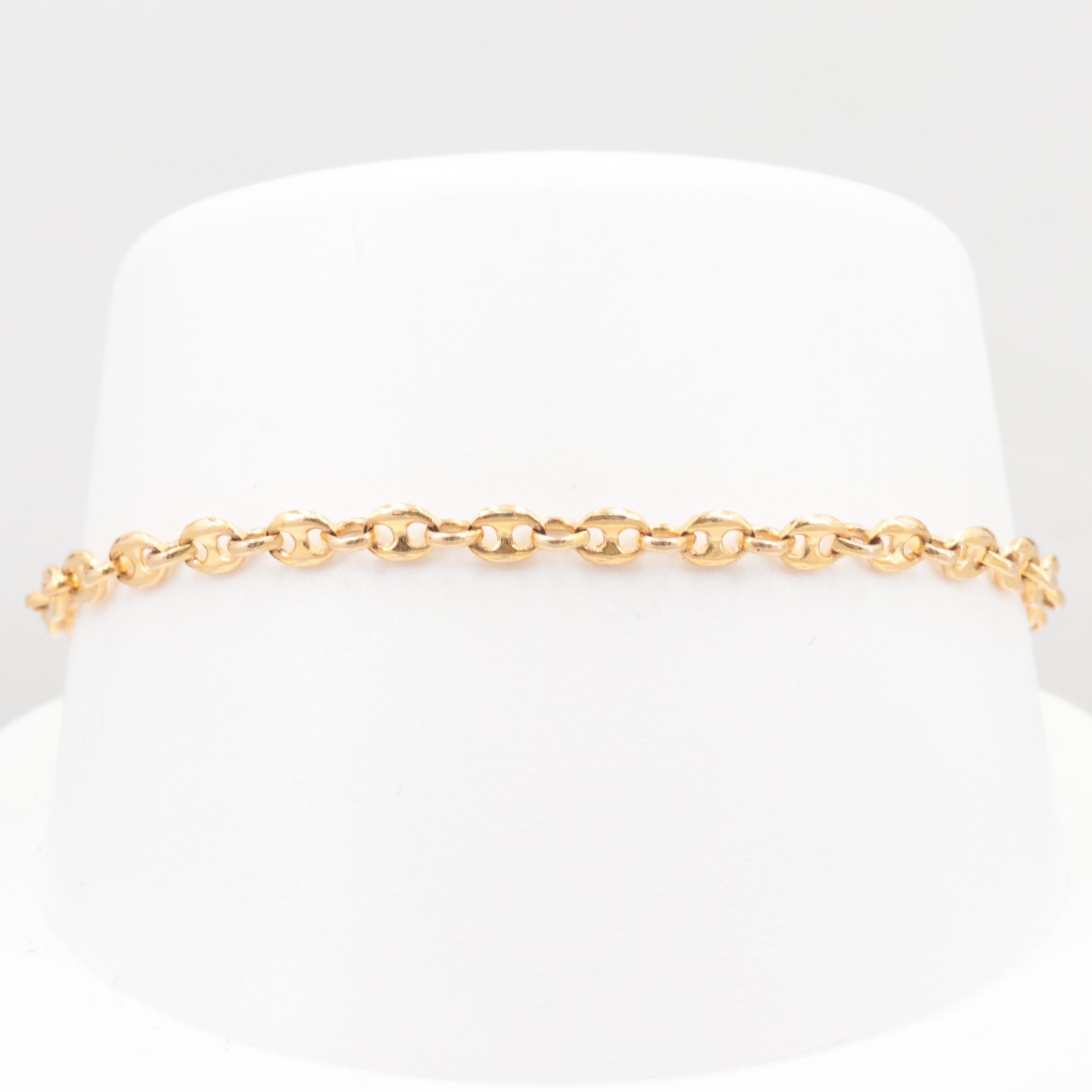 14K Yellow Gold Anchor Chain Bracelet