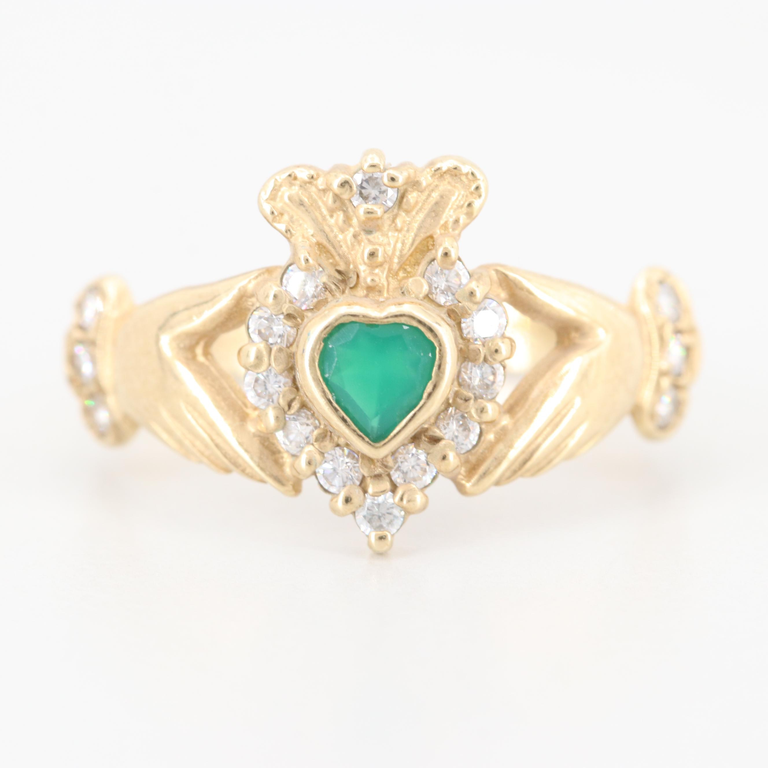 10K Yellow Gold Chalcedony and Cubic Zirconia Claddagh Ring