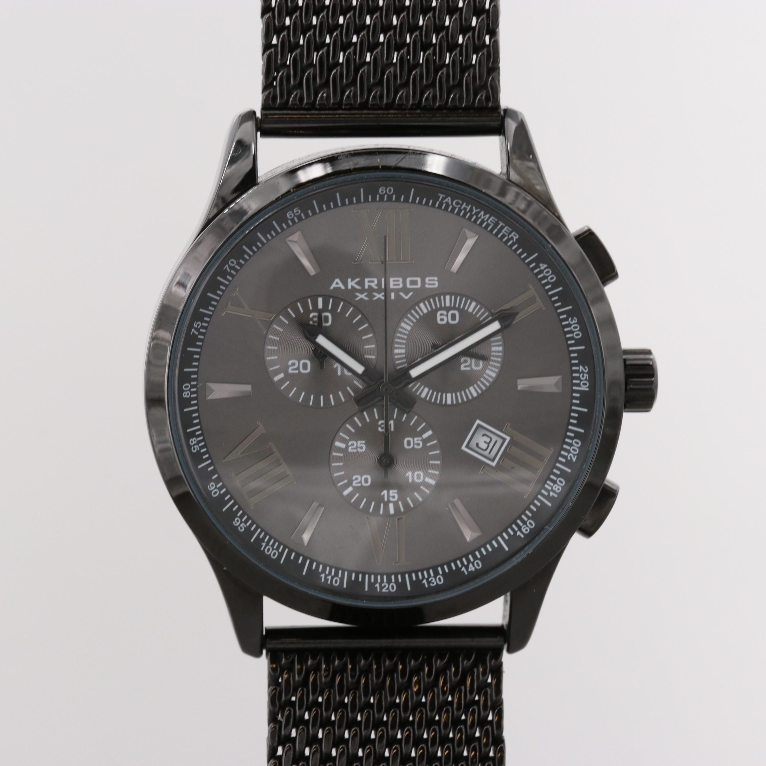 Akribos Black PVD Stainless Steel Quartz Chronograph Wristwatch